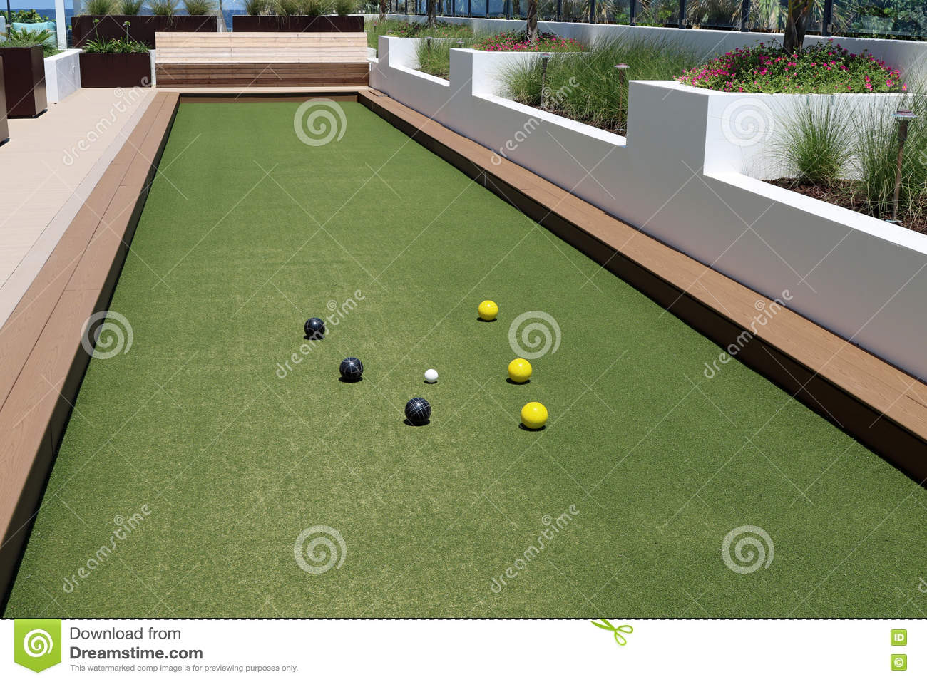 bocce ball court with artificial turf stock photo image 72991189