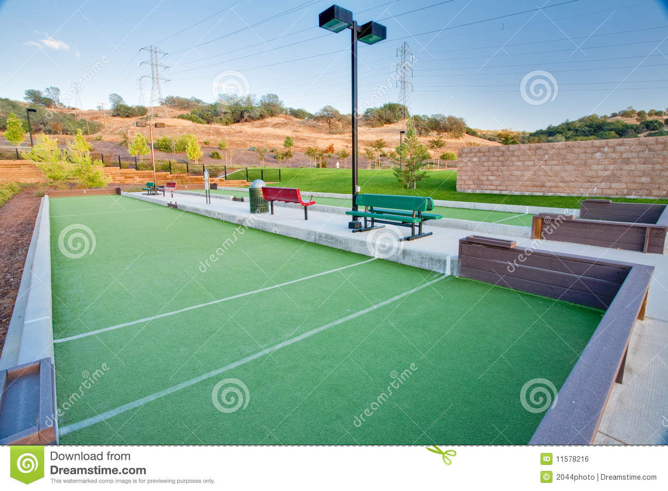 Bocce Ball Lawn Bowling : Bocce Ball (lawn bowling) courts in a public park