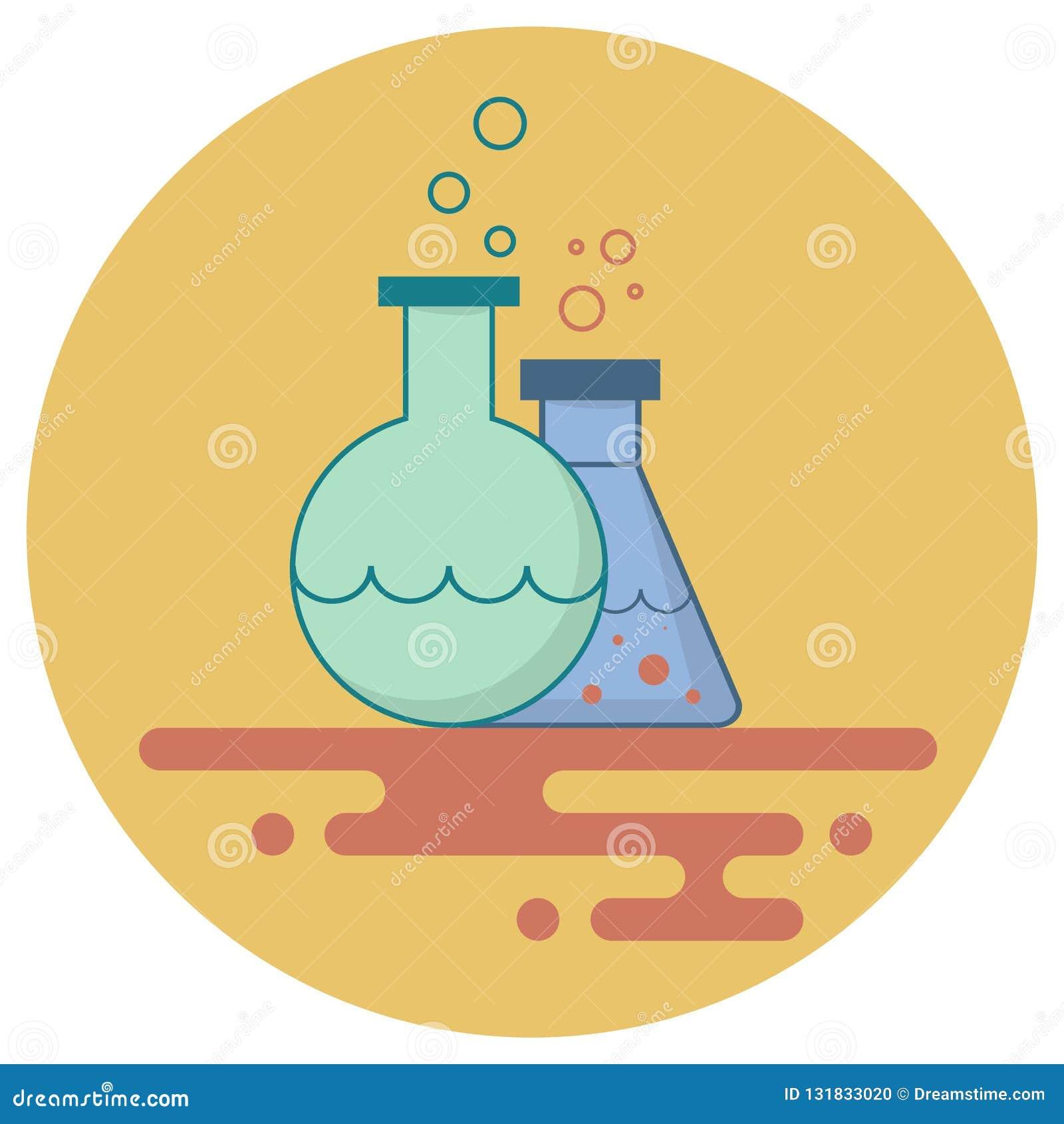 Boccetta e storta con i liquidi chimici su un fondo giallo f