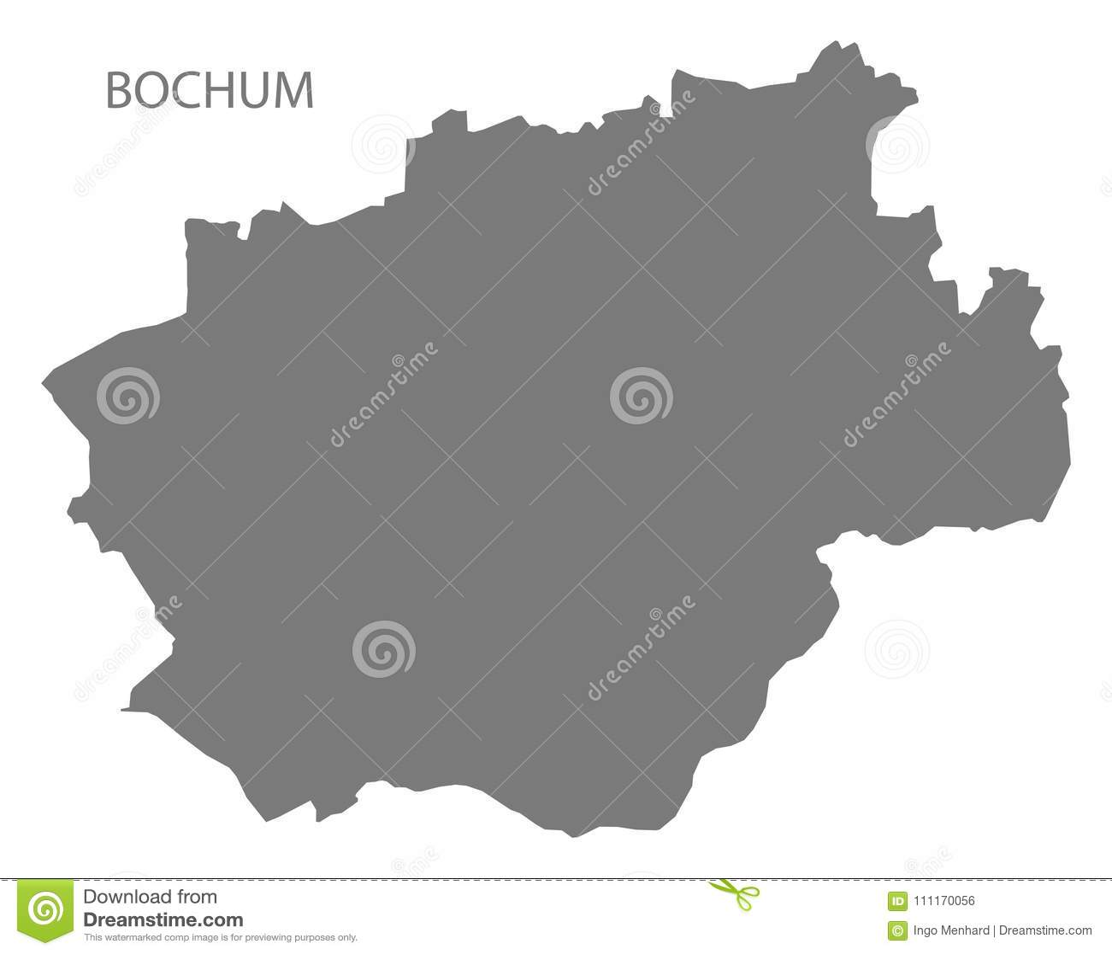 Bochum City Map Grey Illustration Silhouette Shape Stock Vector