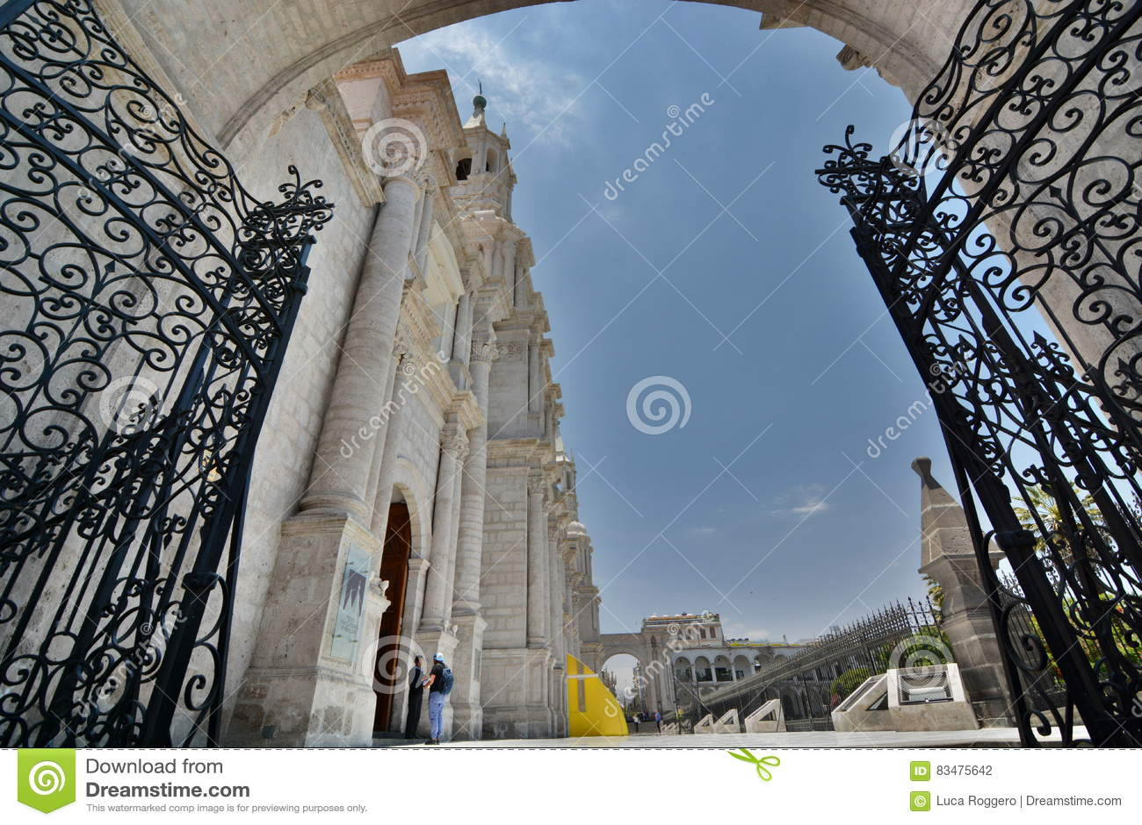 Bocznego wejścia brama bazyliki katedra Plaza De armas ares Peru