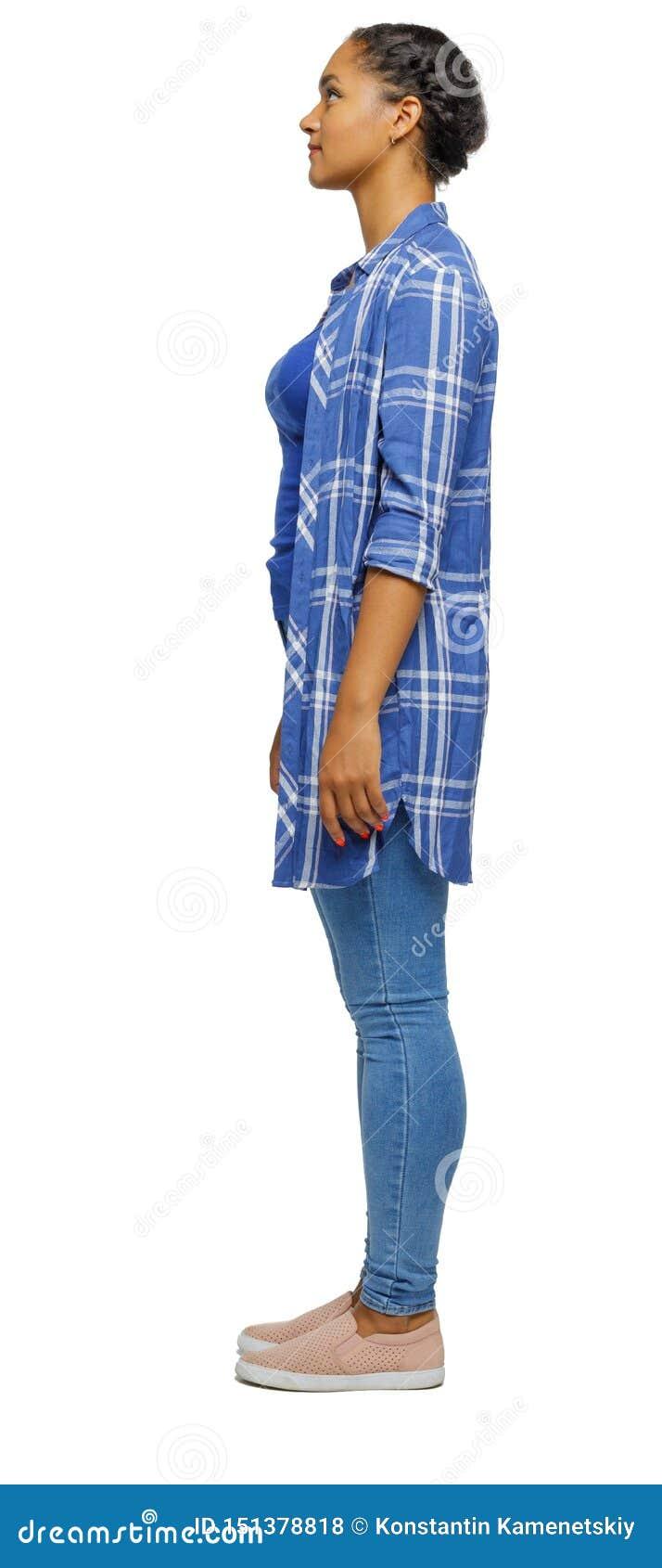 Boczny widok afroameryka?ska kobieta w koszula