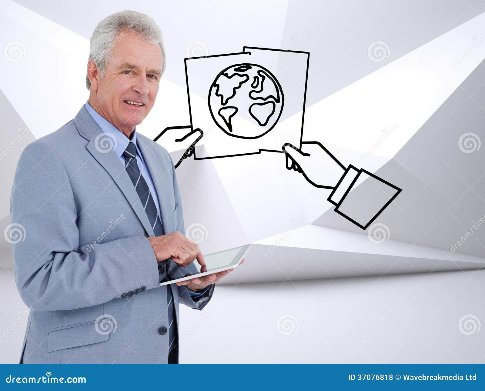 Download Boczny Widok Dojrzały Tradesman Z Pastylka Komputerem Ilustracji - Ilustracja złożonej z światło, digitalis: 37076818