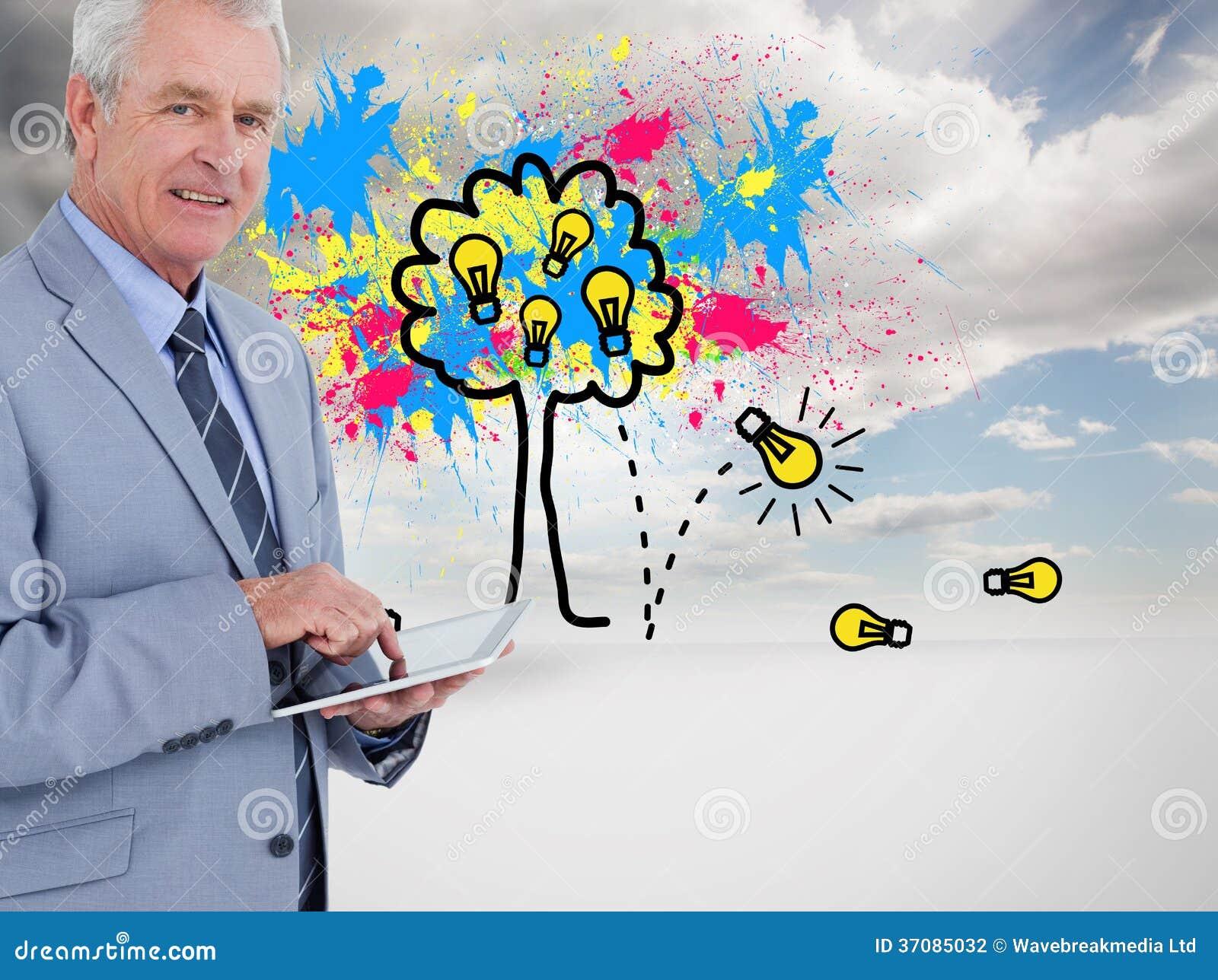 Download Boczny Widok Dojrzały Tradesman Z Pastylka Komputerem Ilustracji - Ilustracja złożonej z komputer, wytwarza: 37085032