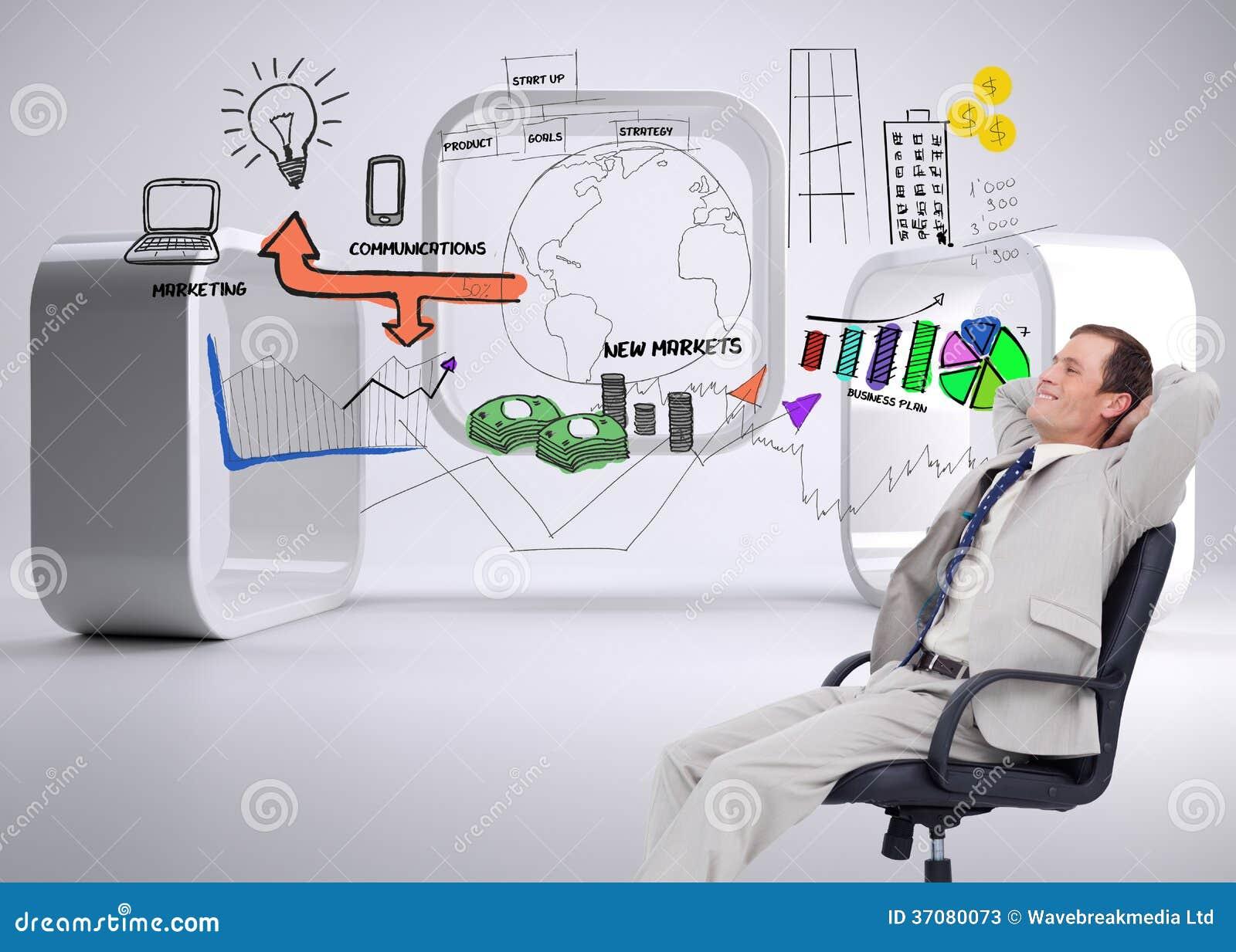 Download Boczny Widok Oparty W Jego Krześle Biznesmen Z Powrotem Ilustracji - Ilustracja złożonej z wyznaczający, grafika: 37080073