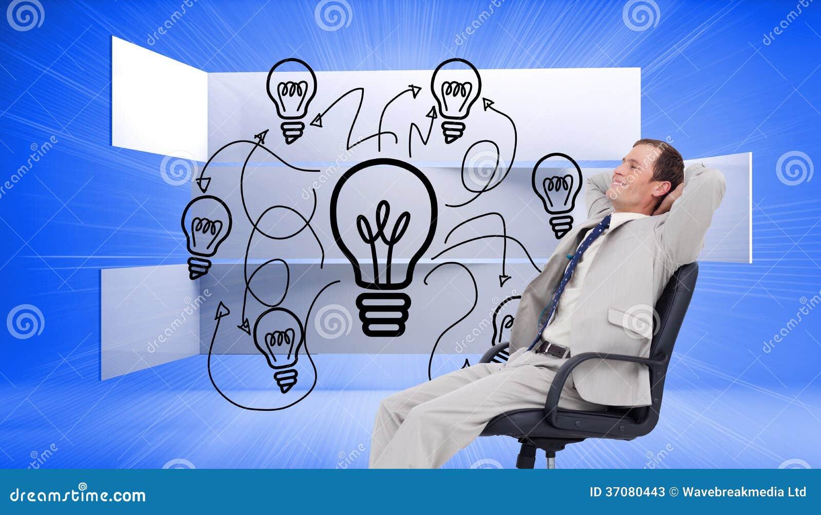 Download Boczny Widok Oparty W Jego Krześle Biznesmen Z Powrotem Ilustracji - Ilustracja złożonej z digitise, ekran: 37080443