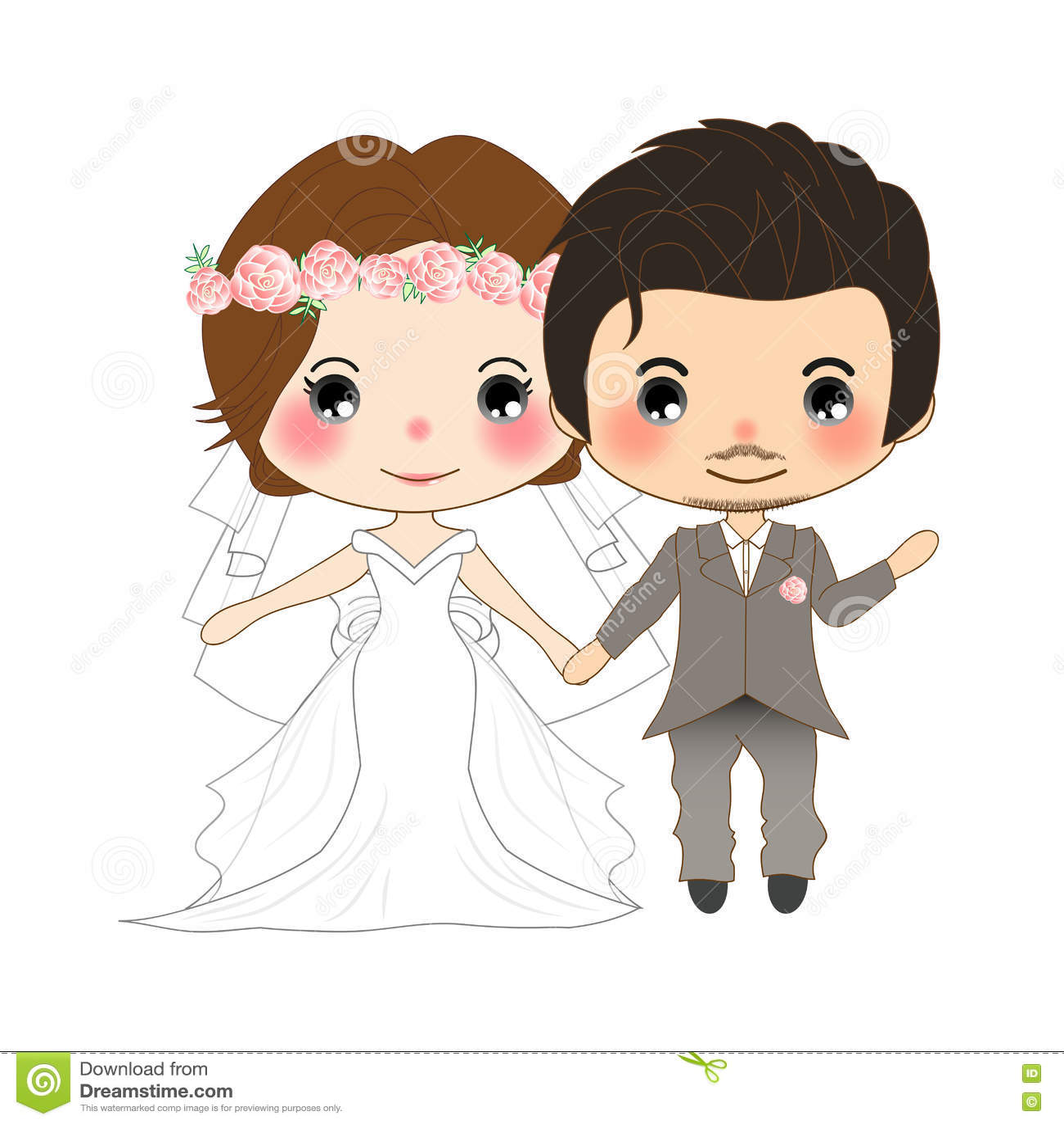e2abfbdb9 Boda de los pares Mujer linda en vestido de la novia y hombre del bigote en