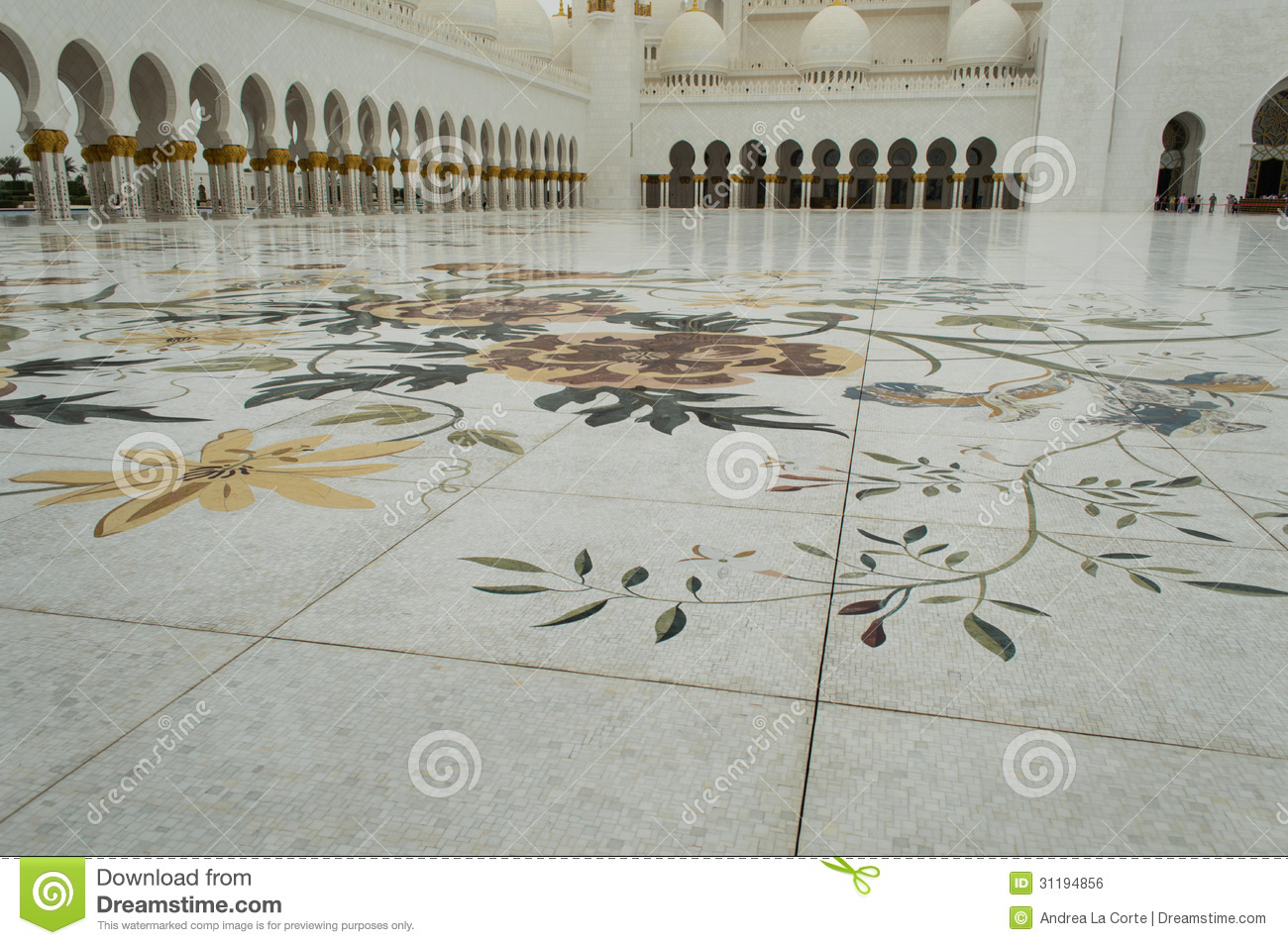 Bodendekoration In Sheikh Zayed Mosque Stockfoto Bild Von