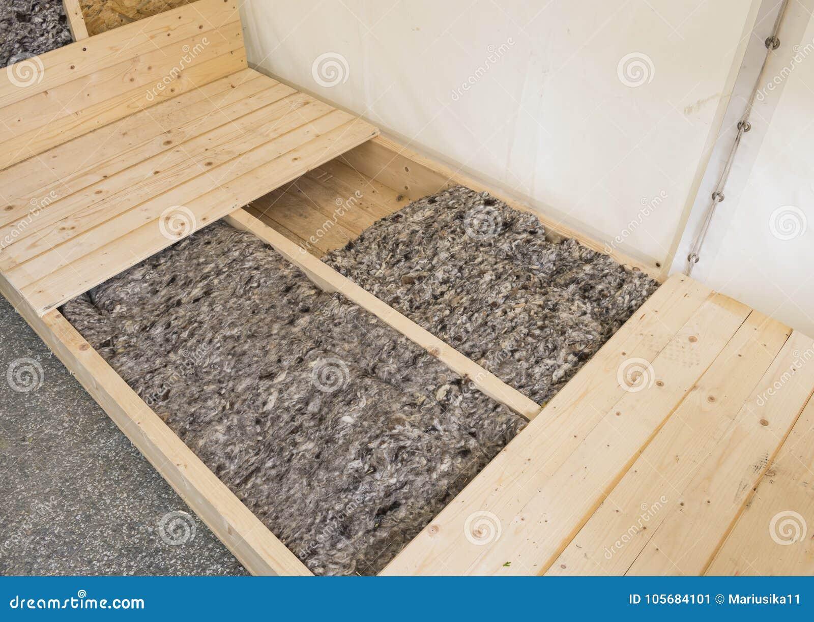Bodenisolierung Im Hauptdesign Mit Schafwolle Stockbild Bild Von