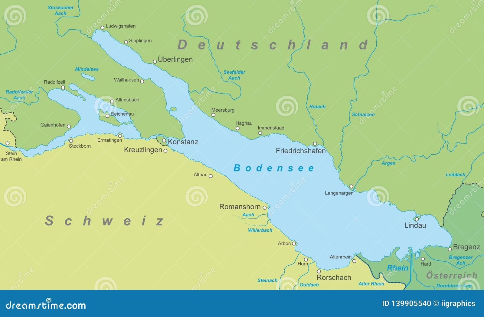 Bodensee Karte Von Bodensee Stock Abbildung Illustration Von