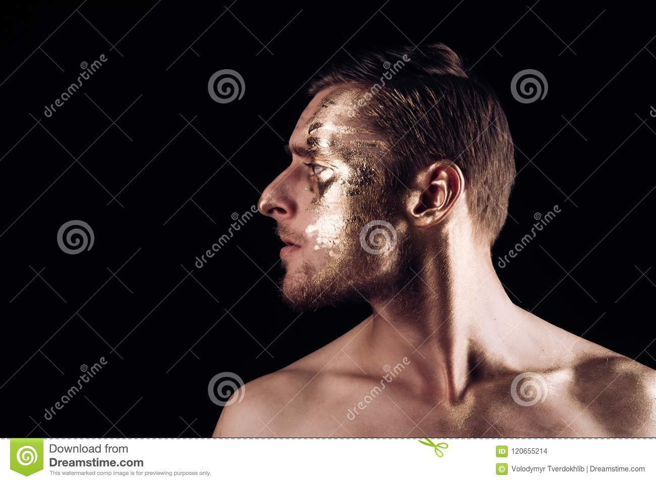 Body Art Paint With Gold On Face Of Man Man Has Golden Body Art Body Art Concept Luxury Body Art On Face Of Man Stock Photo Image Of Color Flush 120655214