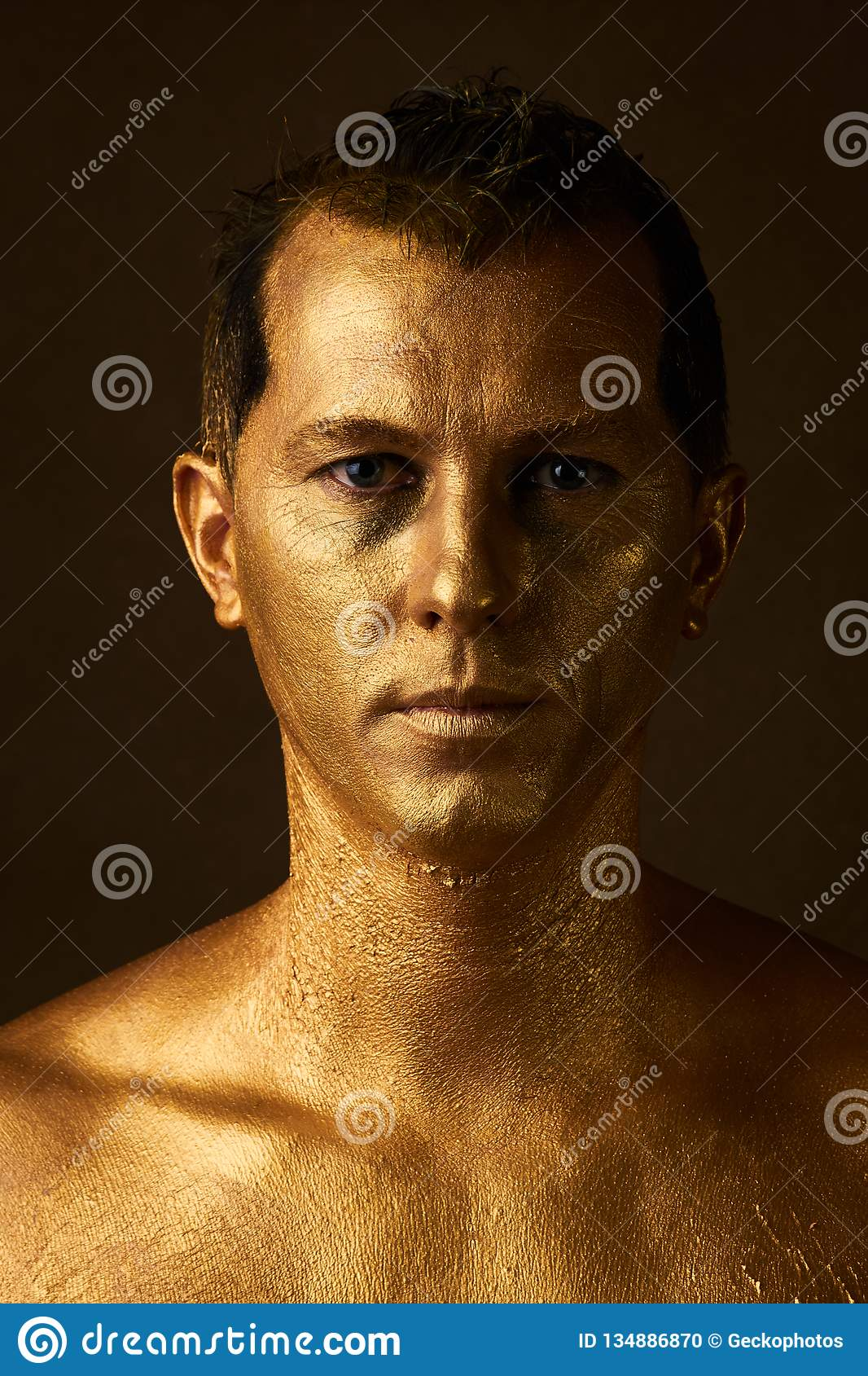 Body Art Paint With Gold On Face Of Man Over Dark Background Stock Photo Image Of Color Background 134886870
