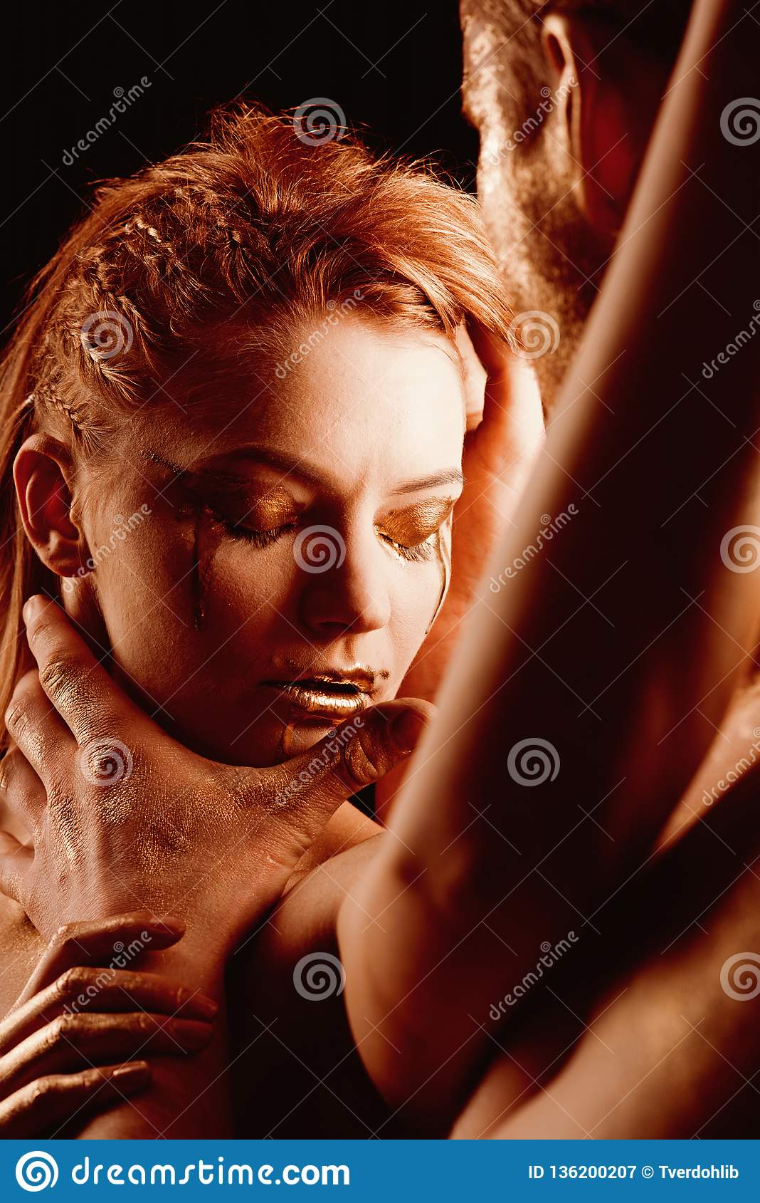 Body Art Portrait Body Art Couple Painted In Gold Color Stock Image Image Of Nude Face 136200207
