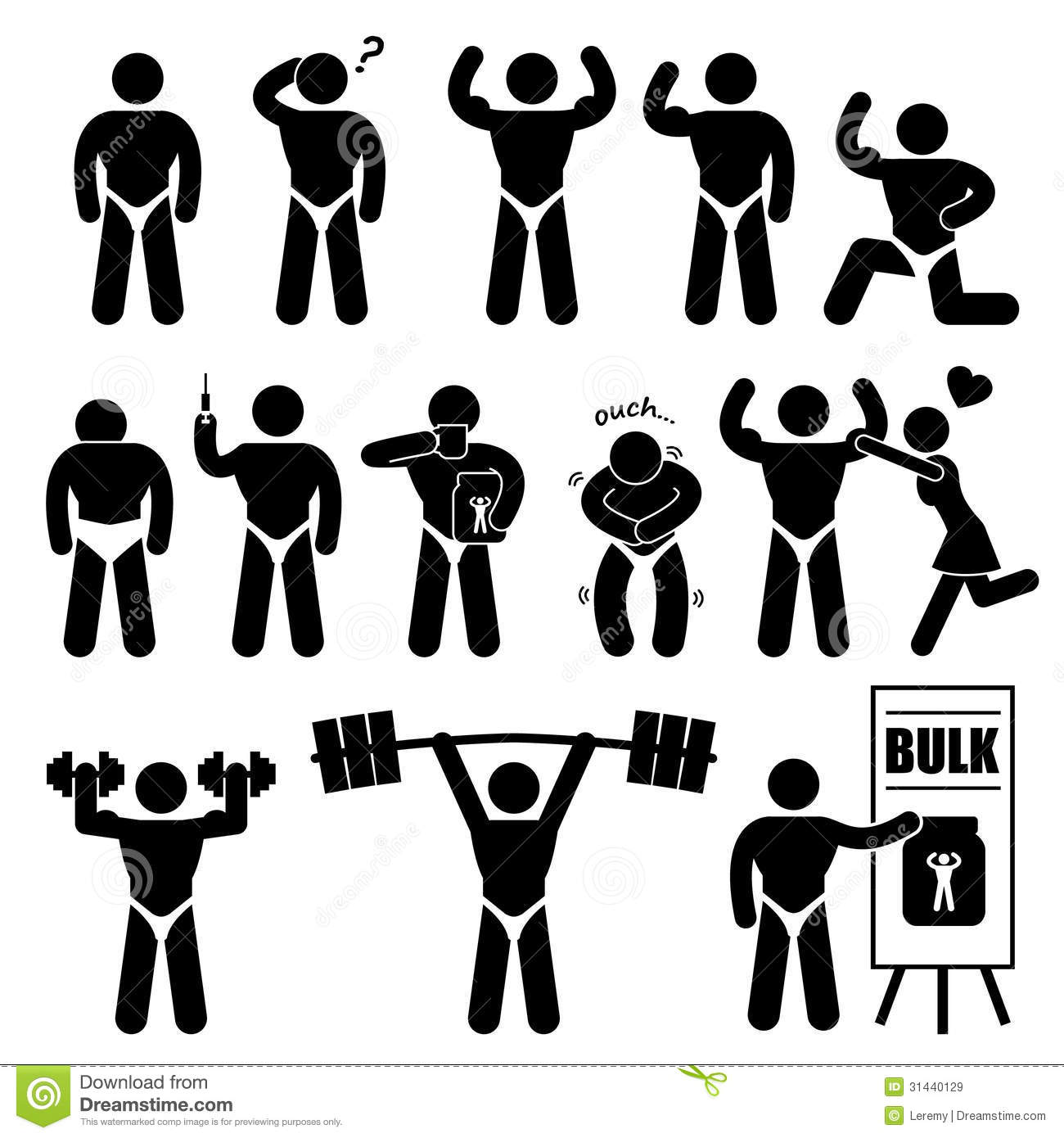 Body Builder Bodybuilder Muscle Man Pictogram Royalty Free Stock
