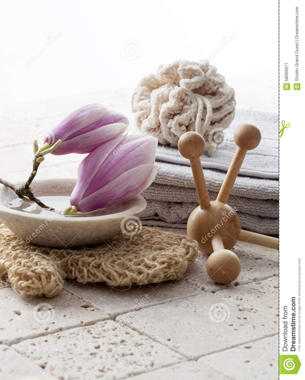 Body Care Symbols With Magnolia Flowers Stock Image Image Of Feng