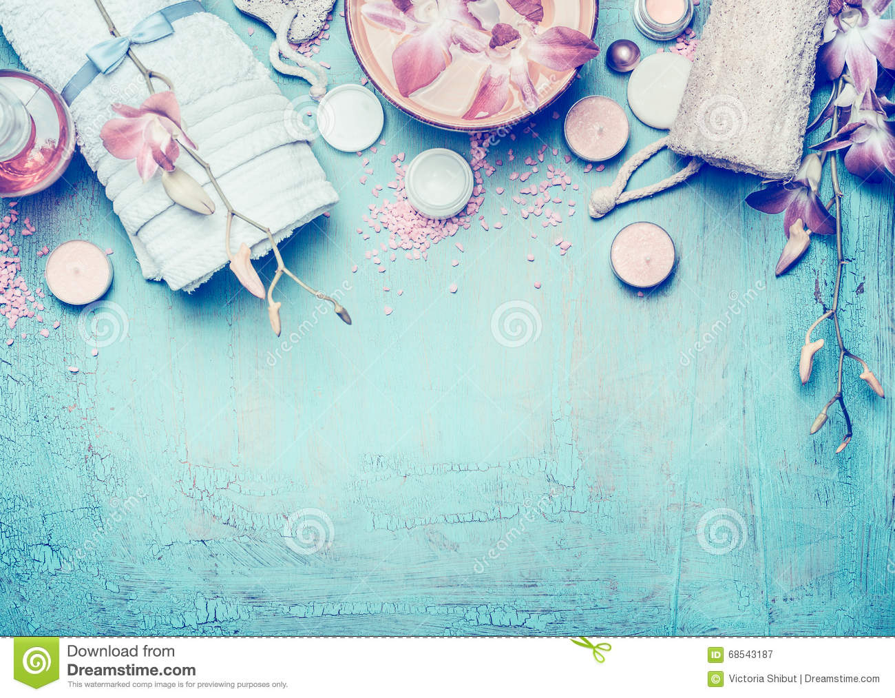 Background image body - Body Care Tools On Blue Turquoise Shabby Chic Background Top View Spa Or Wellness Setting