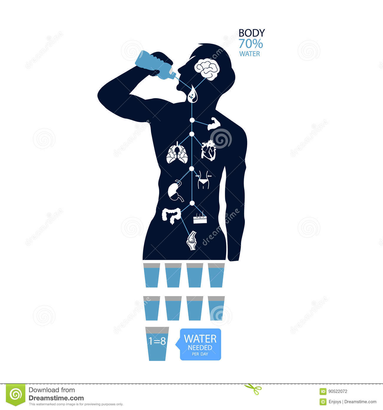 body health infographic illustration drink water icon