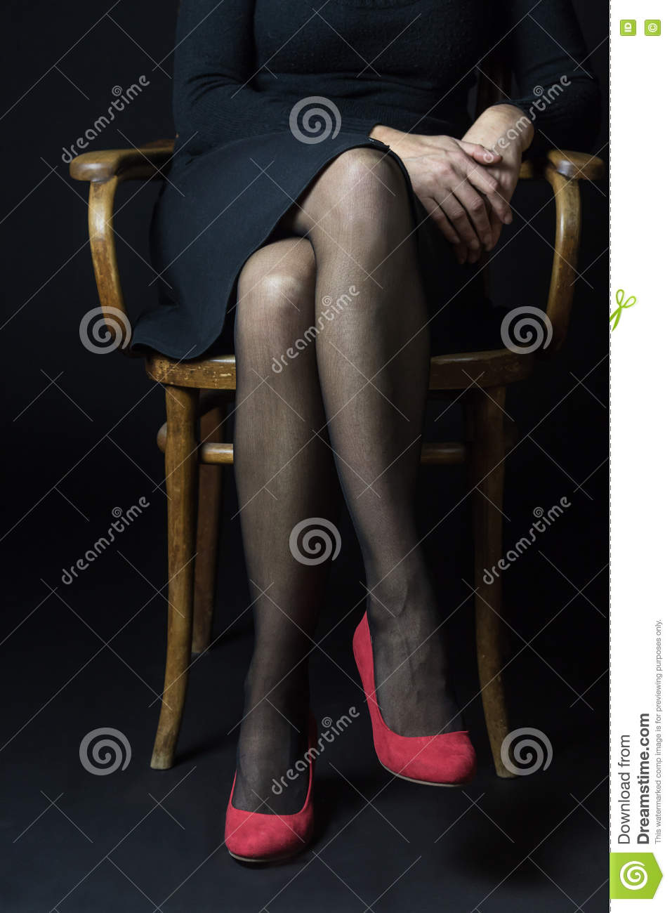 Crossed legs black stockings pantyhose tights