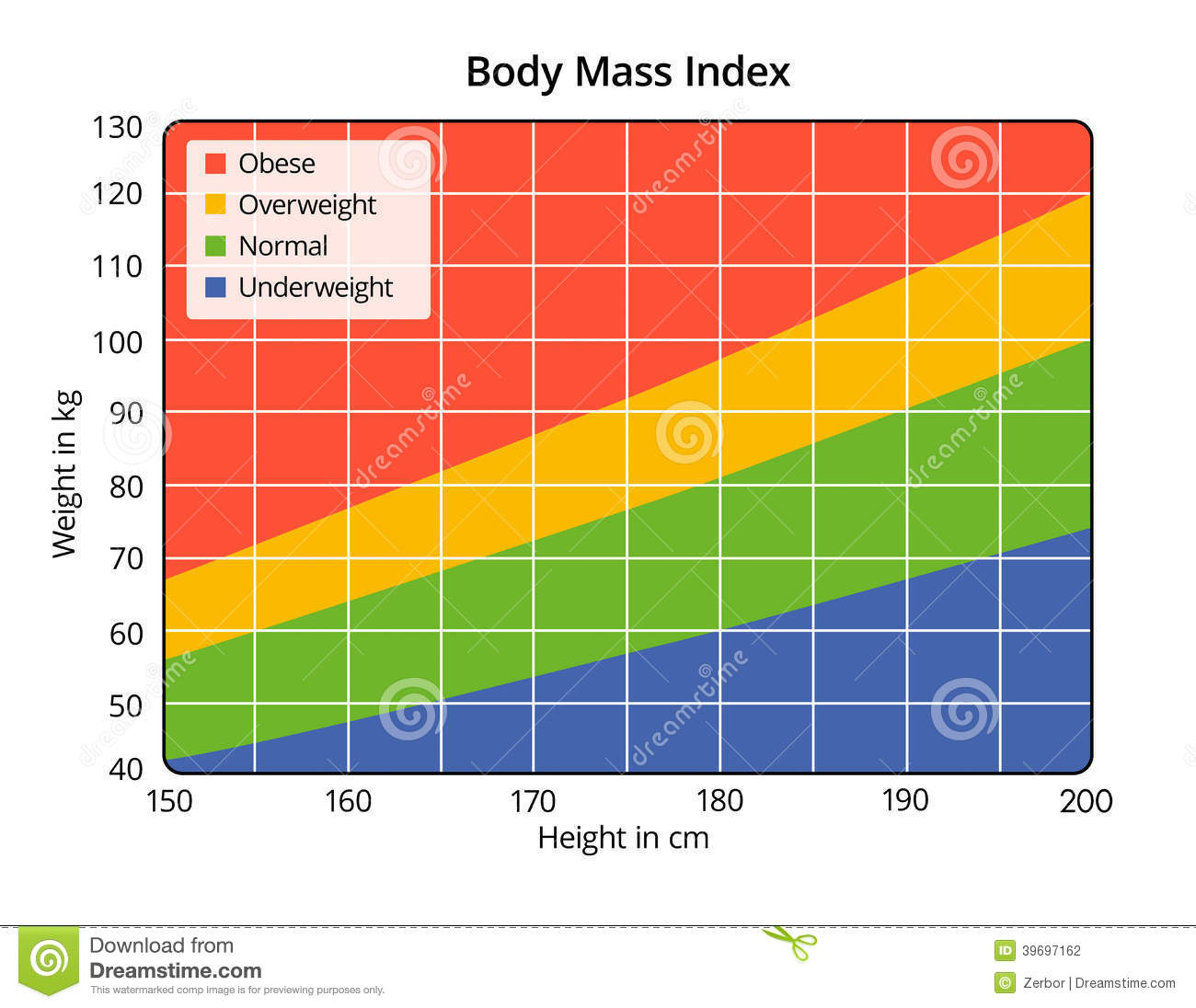 Bmi or body mass index infographic chart stock vector illustration body mass index in cm and kg stock photography geenschuldenfo Choice Image