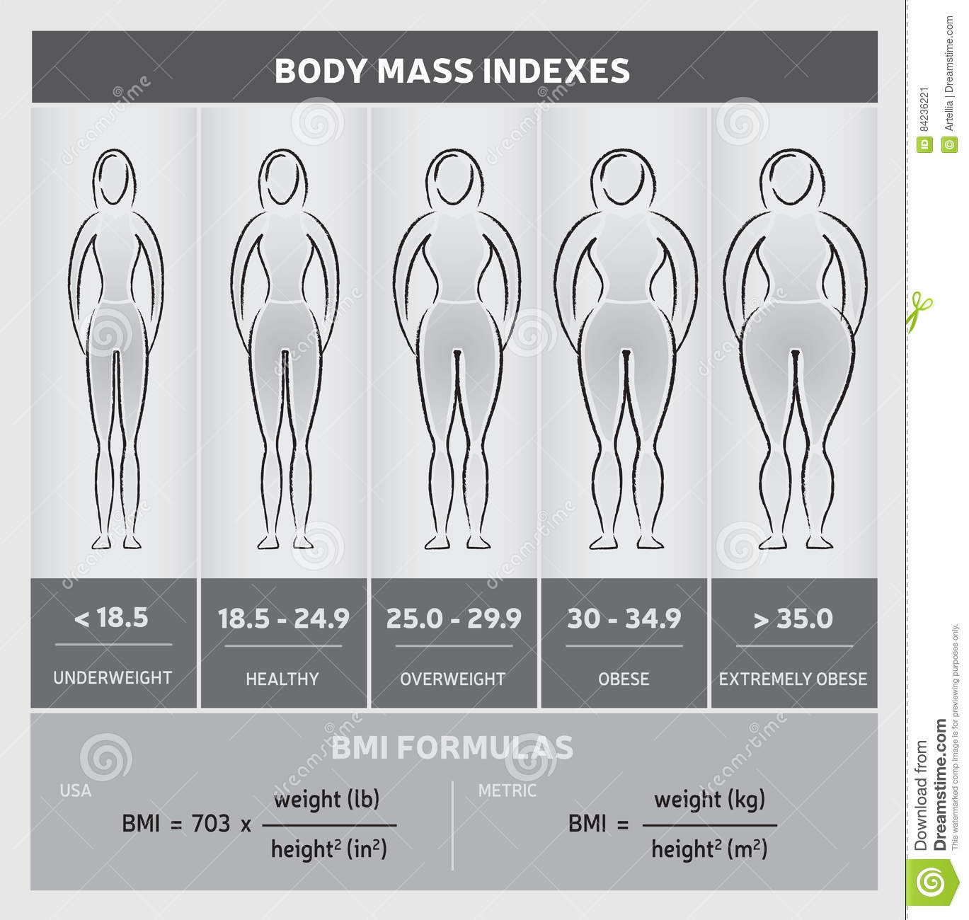 Body mass index diagram graphical chart with body silhouettes body mass index diagram graphical chart with body silhouettes five classes and formulas black and white nvjuhfo Gallery
