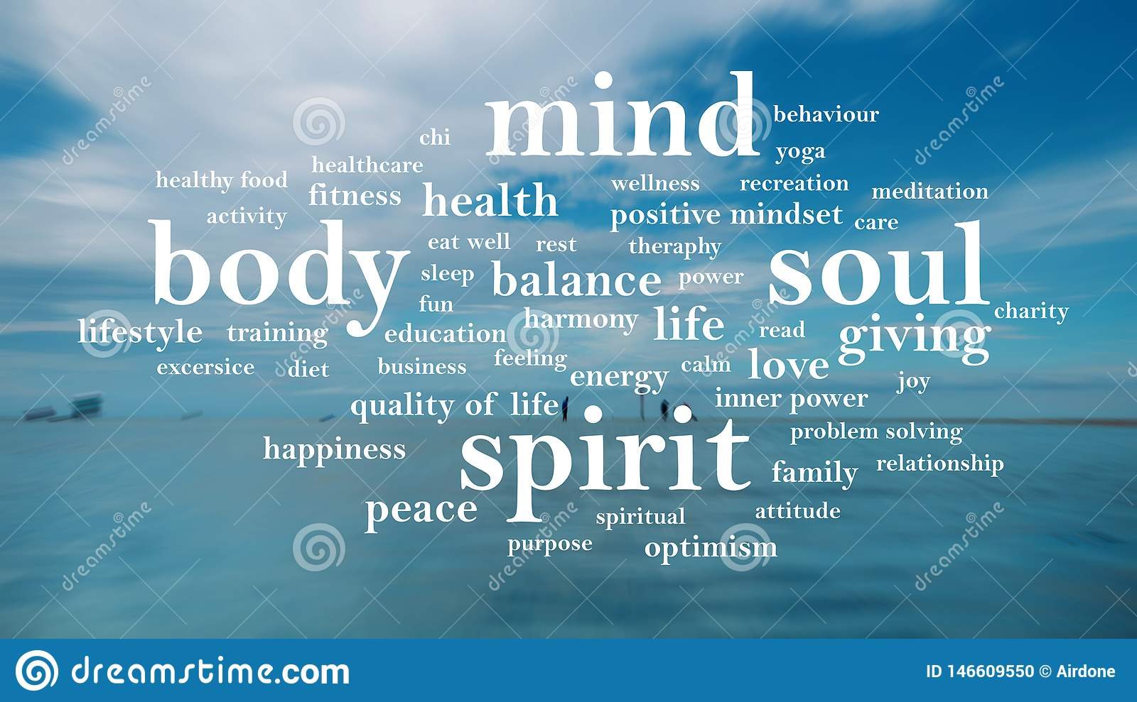 Body Mind Soul Spirit Motivational Words Quotes Concept