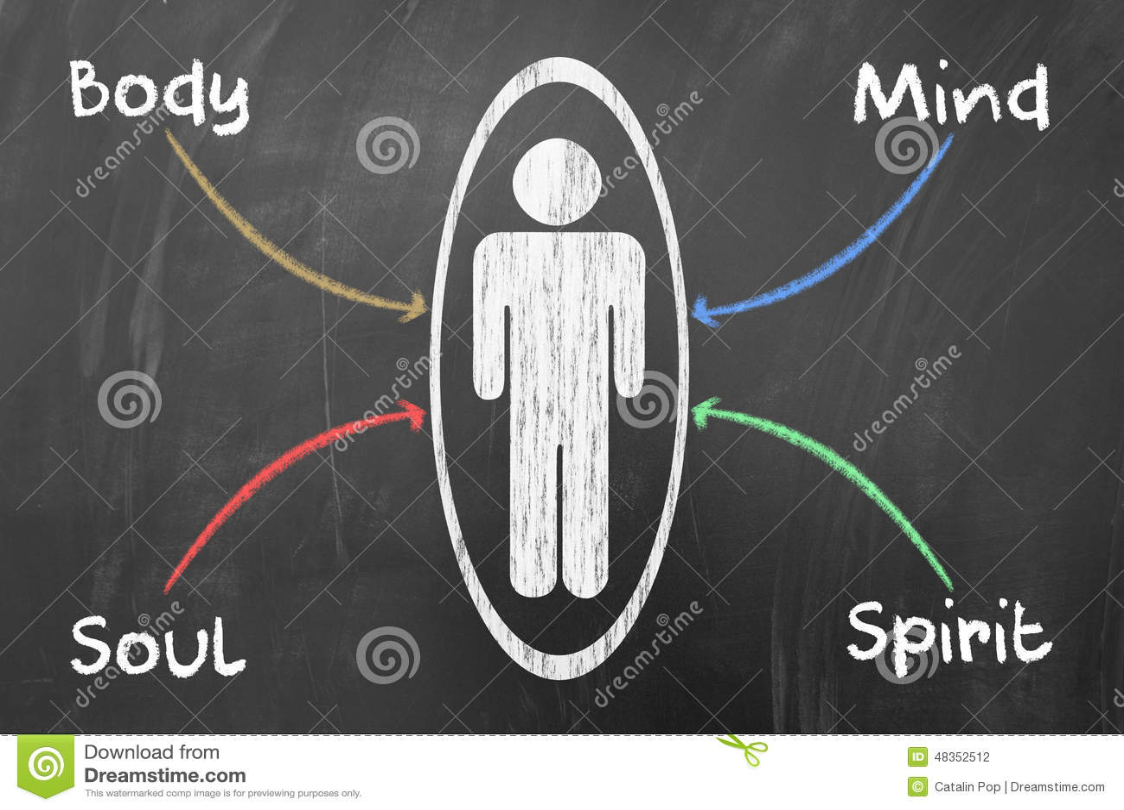 Equilibrio Mente E Espirito: Body, Mind, Soul And Spirit Stock Illustration