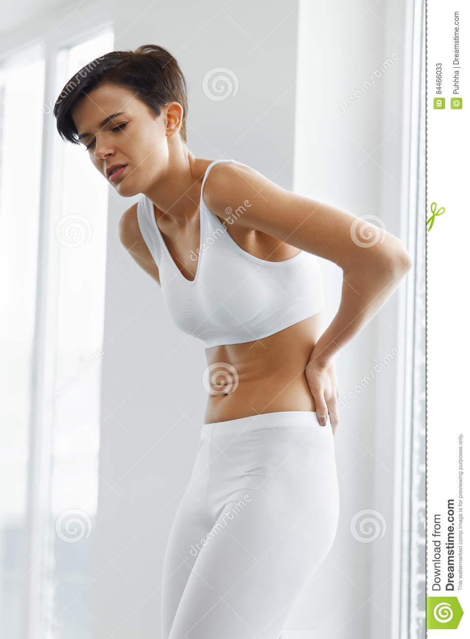 Body Pain. Beautiful Woman Feeling Pain In Back, Backache