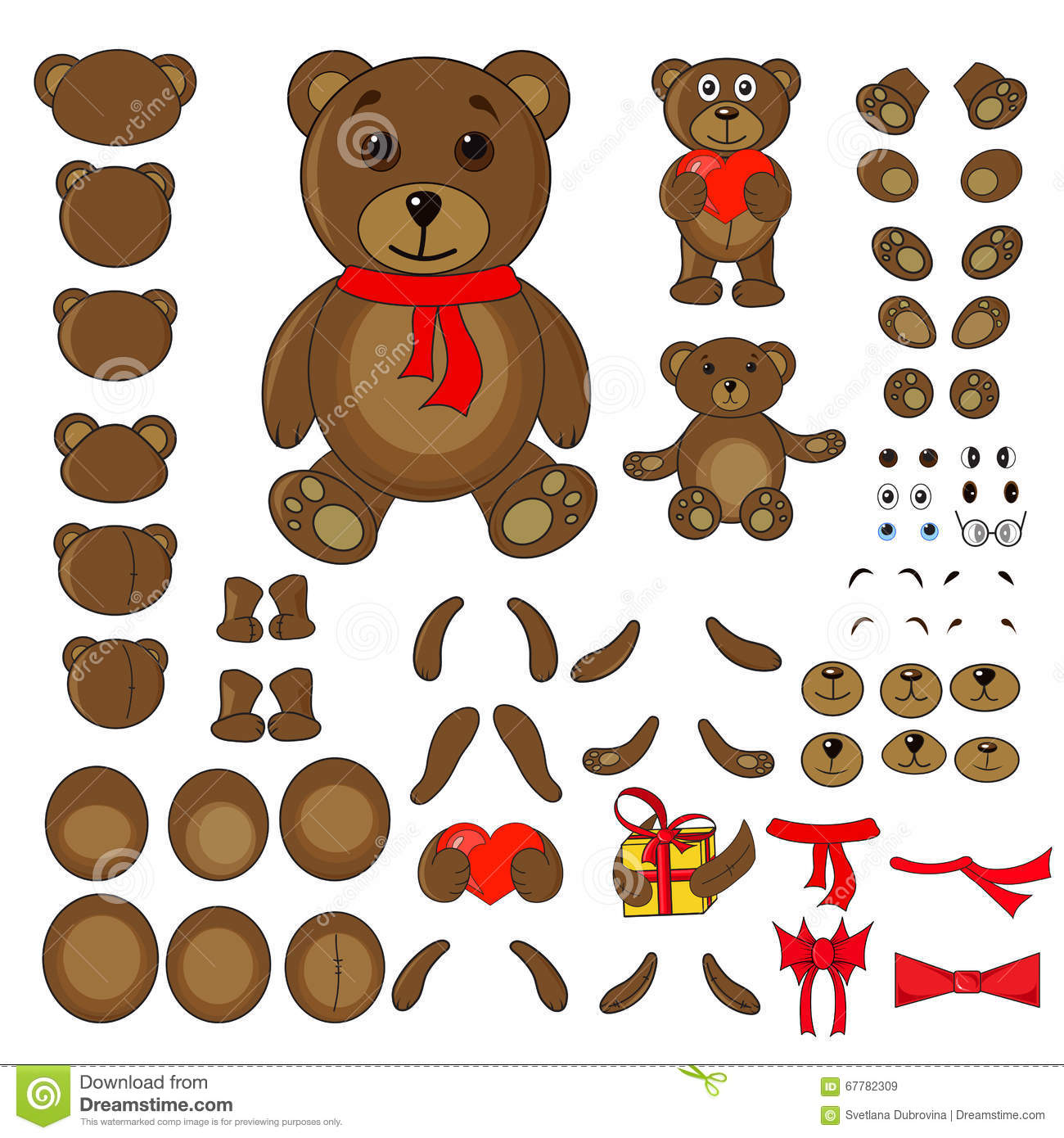 body parts of a bear in the vector vector illustration Rattle Vector California Bear Vector
