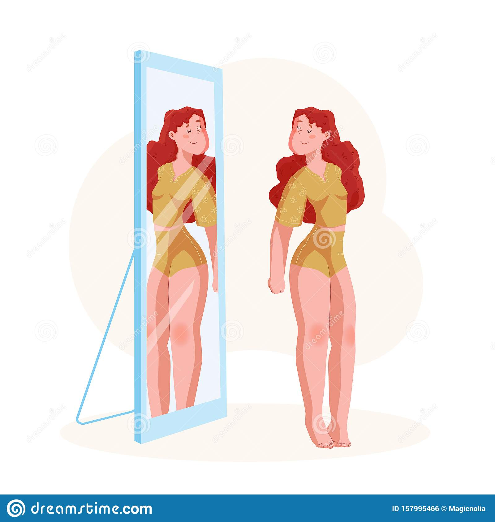 Body positive concept. Plus size Young Woman in home suit looking in mirror with smile. Happy curve girl in lingerie. Vector