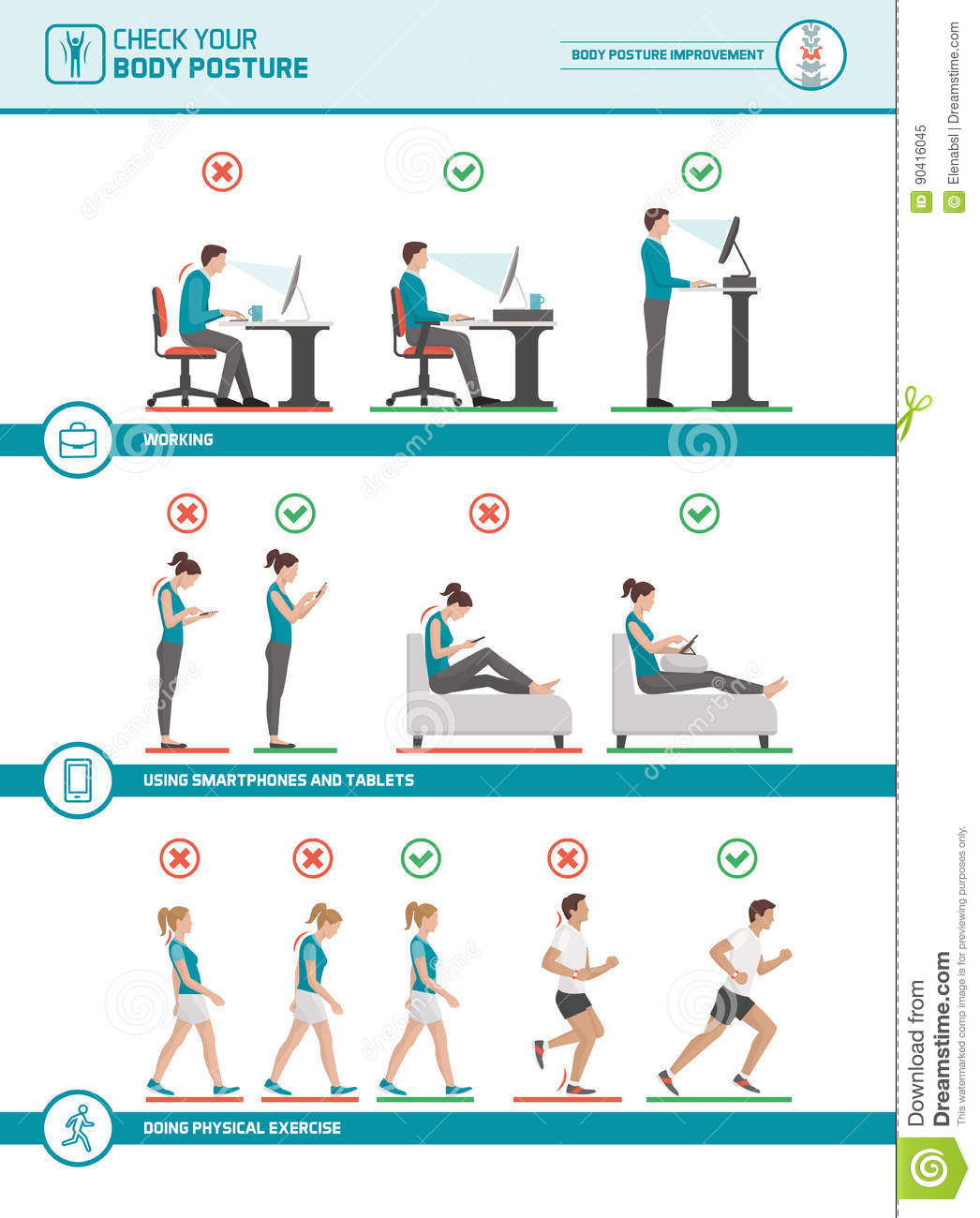 Body Posture Ergonomics And Improvements Stock Vector