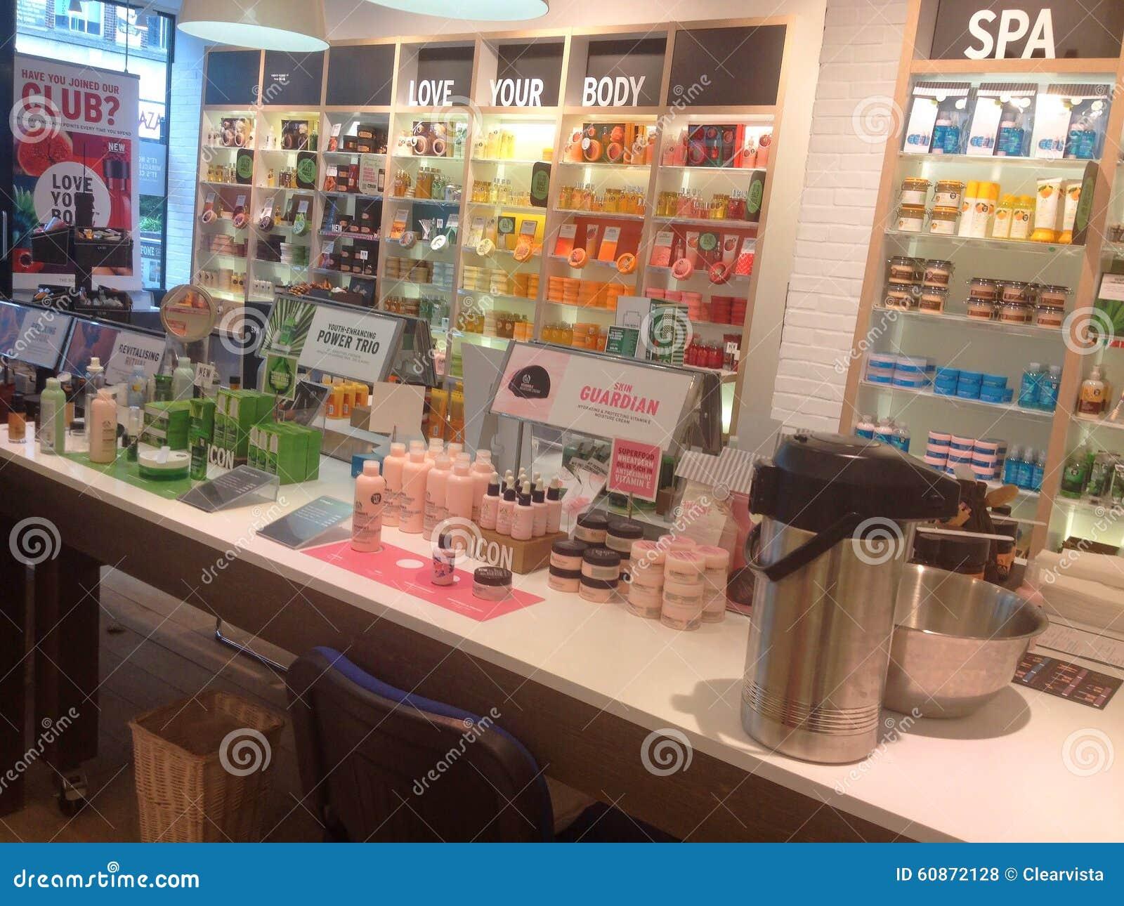 9a90e3df4 Body Shop Interior. Cosmetics And Perfumes. Editorial Stock Photo ...