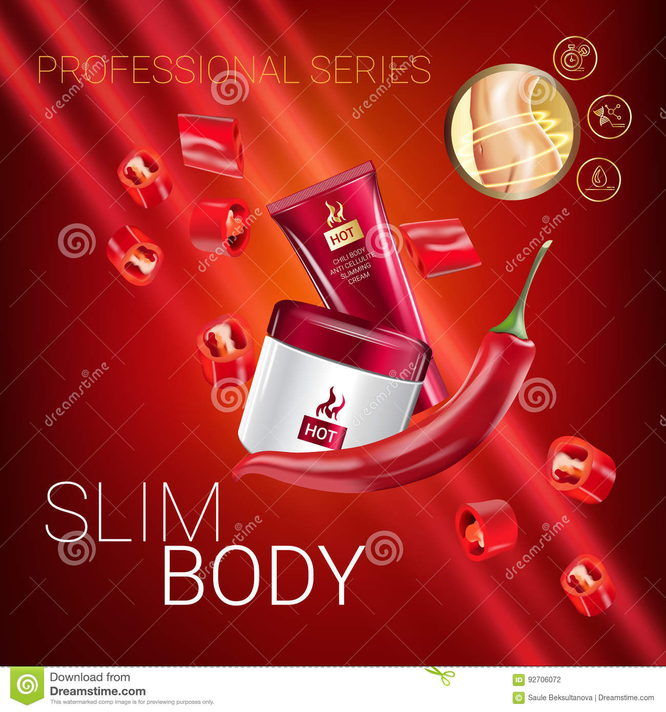 Skin Care Ads: Body Skin Care Series Ads. Vector Illustration With Chili