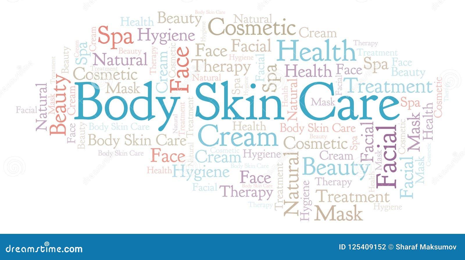 Body Skin Care word cloud  stock illustration  Illustration