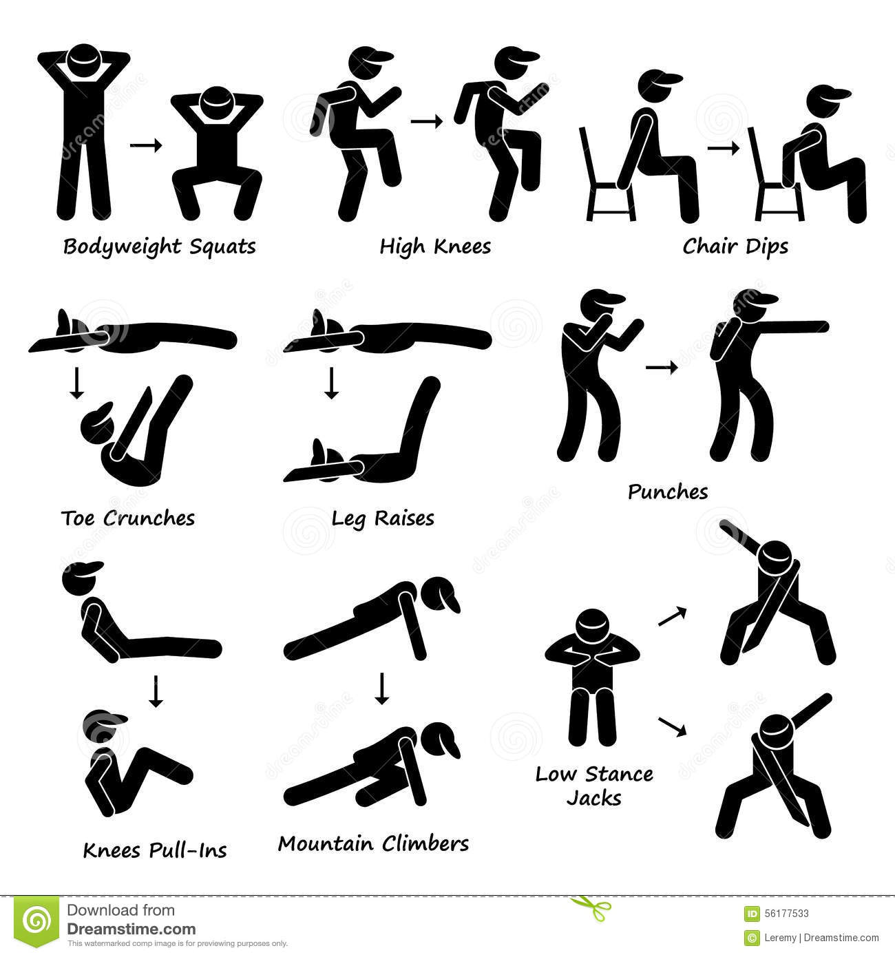 body workout exercise fitness training set 2 clipart stock vector