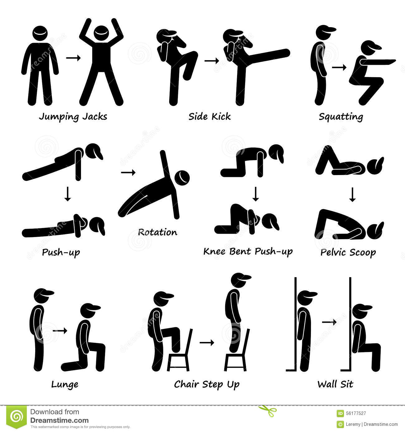 Body Workout Exercise Fitness Training Set 1 Clipart