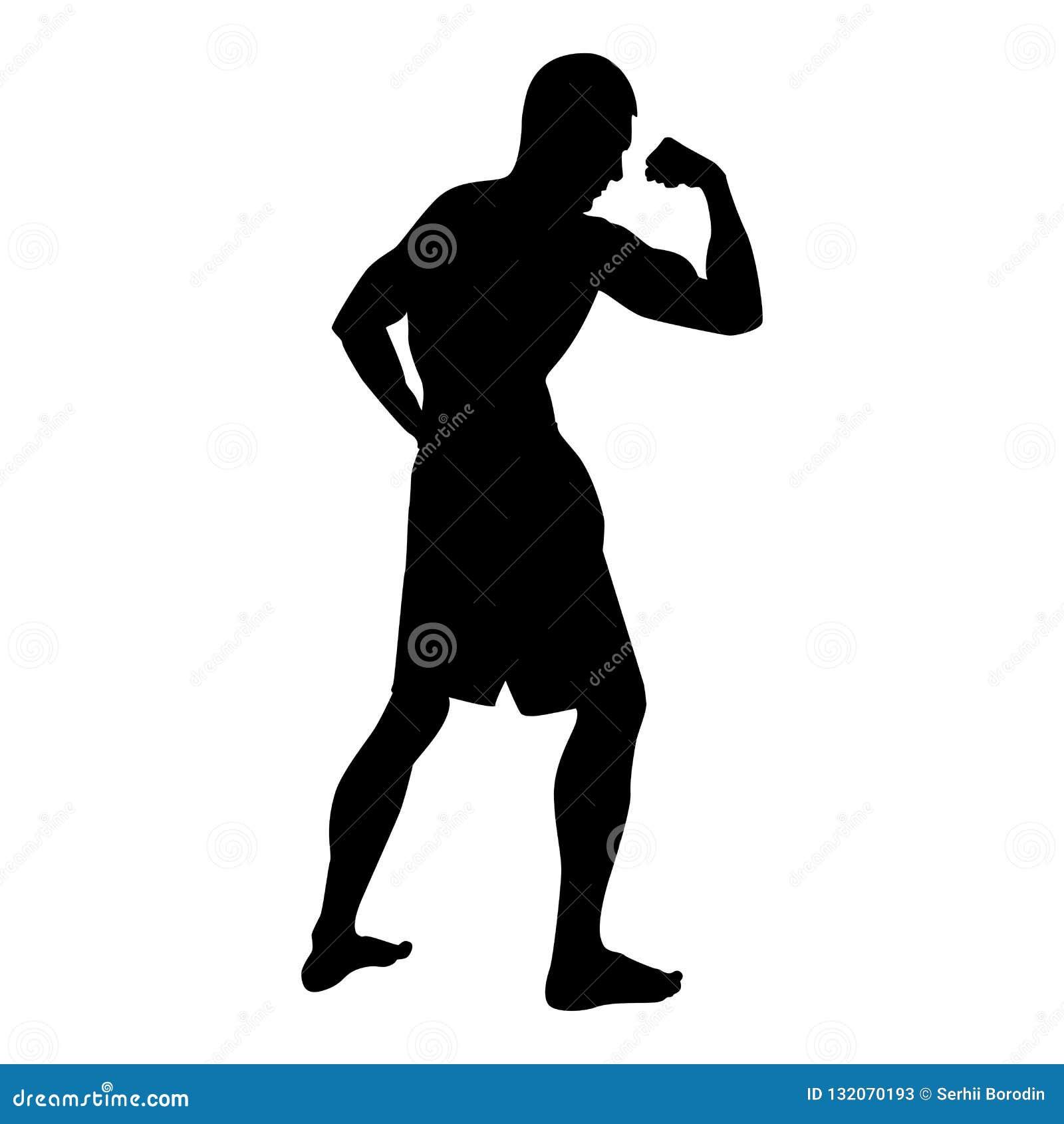 Bodybuilder που παρουσιάζει στη σκιαγραφία αθλητικής έννοιας Bodybuilding μυών δικέφαλων μυών εικονίδιο πλάγιας όψης μαύρη έγχρωμ