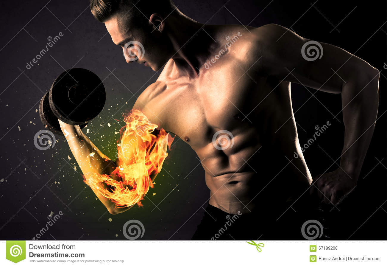 Bodybuilder athlete lifting weight with fire explode arm concept