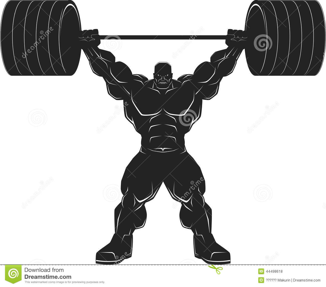 Gym Muscle Bodybuilding Black Mesh Fitness Power Lifting: Bodybuilder With A Barbell Cartoon Vector