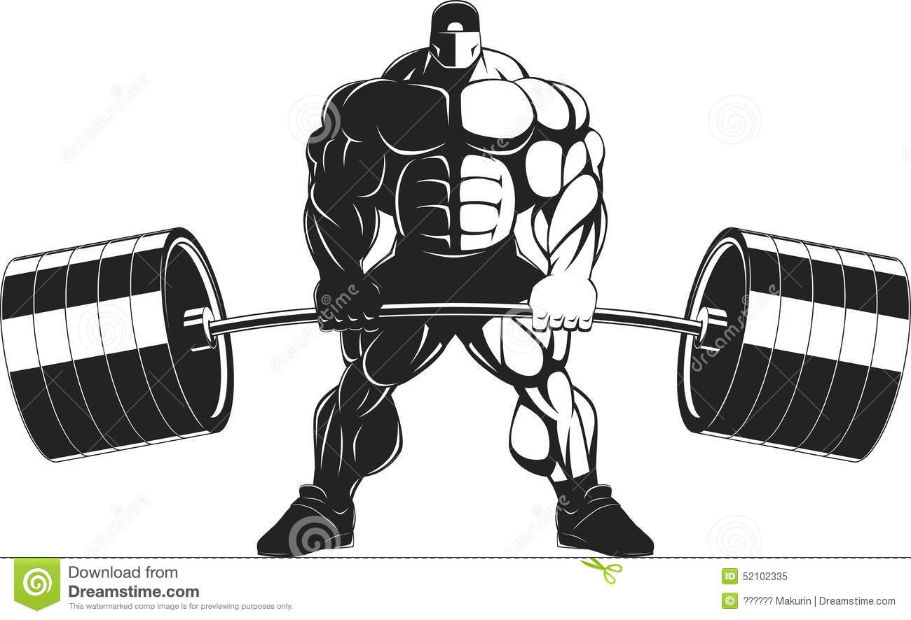 Bodybuilder with a barbell stock vector. Illustration of