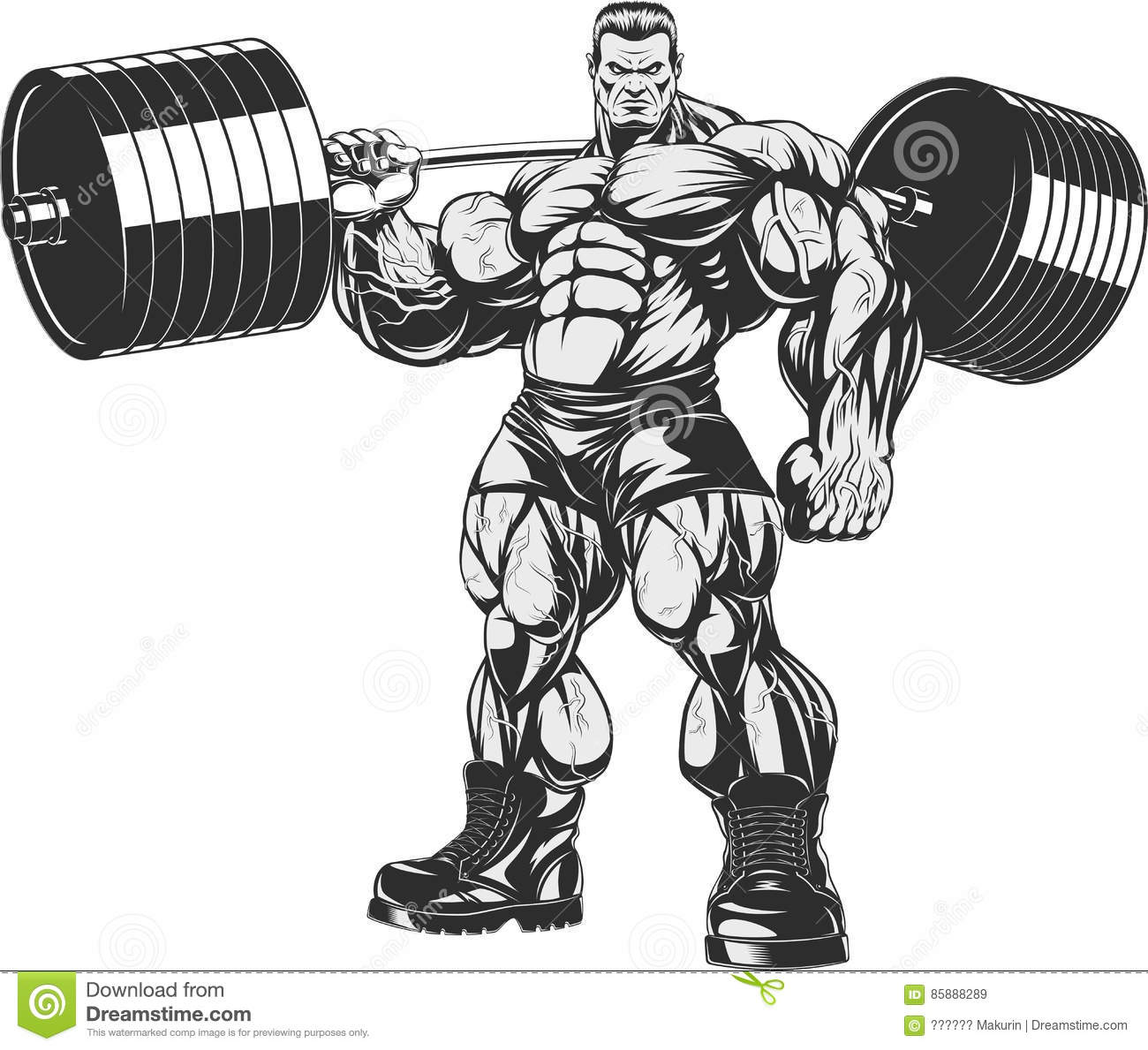 Bodybuilder with barbell cartoon vector cartoondealer - Cartoon body builder ...