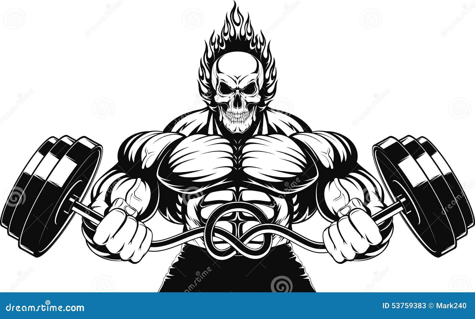 Bodybuilder with a barbell cartoon vector cartoondealer for Barbel art