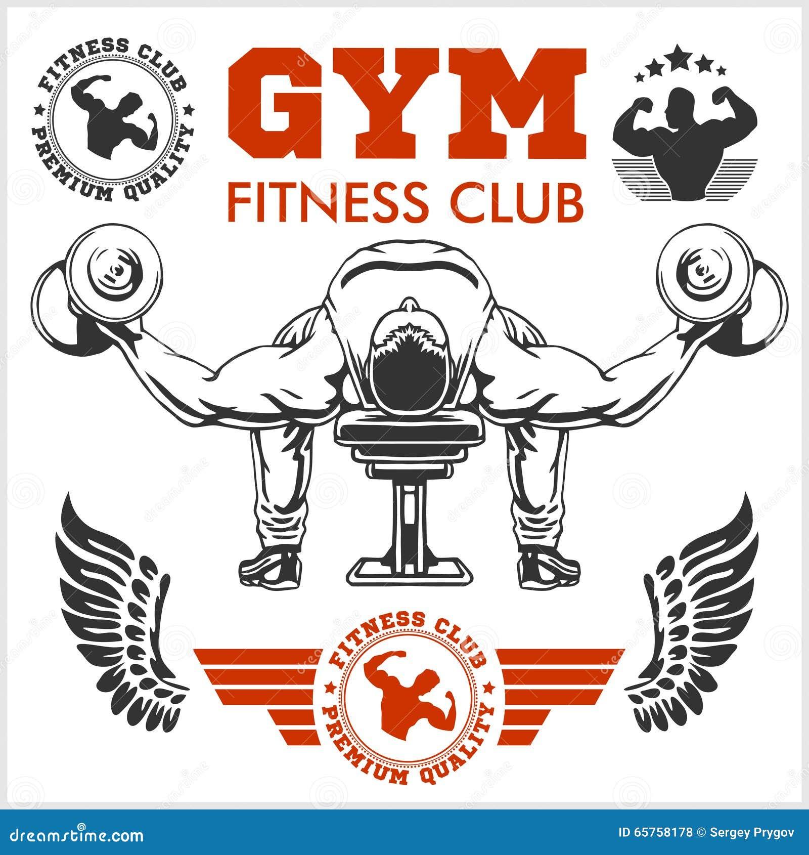 Gym Equipment Logo: Bodybuilder And Bodybuilding Fitness Logos Emblems. Sports