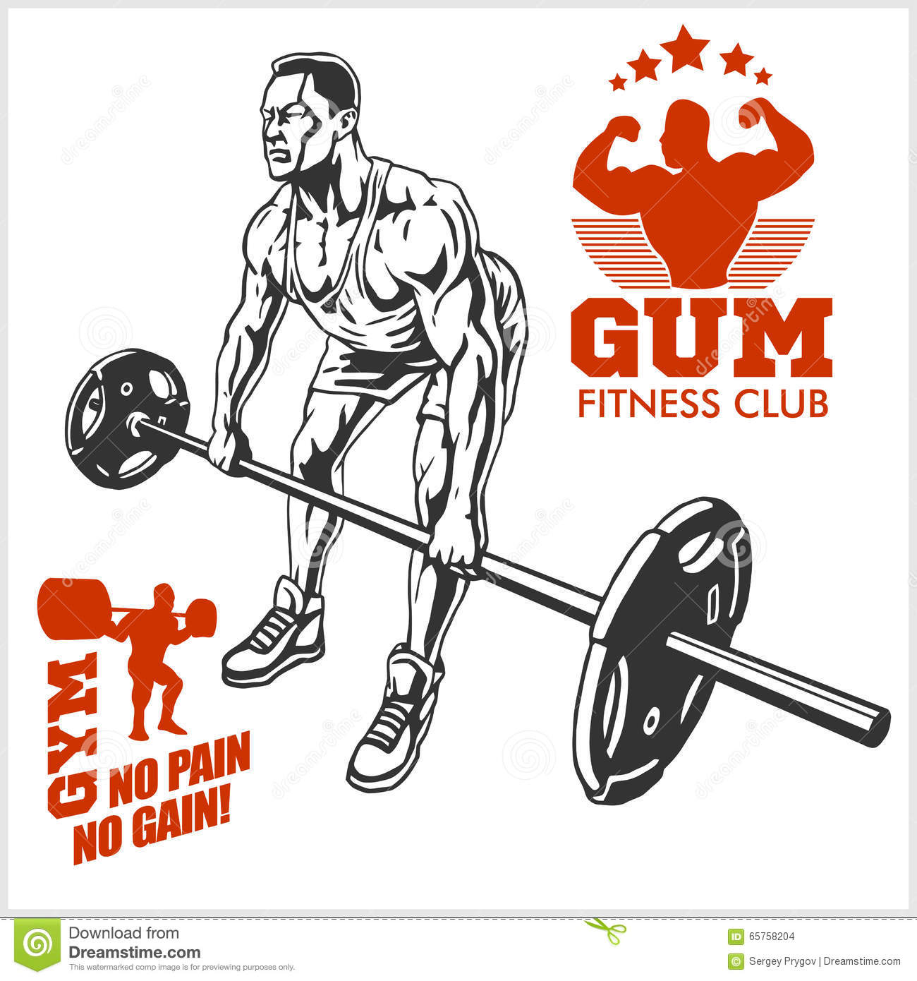 Bodybuilder and bodybuilding fitness logos emblems sports