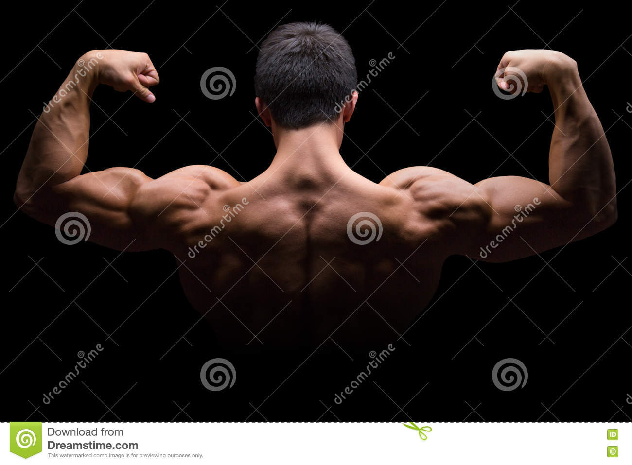 Bodybuilder bodybuilding flexing muscles posing back biceps strong muscular isolated on black
