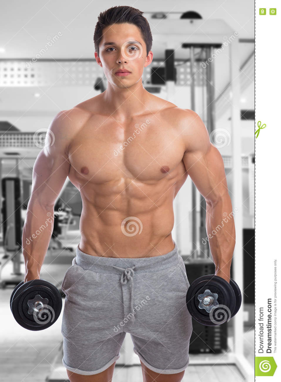 Bodybuilder Bodybuilding Muscles Gym Strong Muscular Young Man D Stock Image Image Of Strong Dumbbell 82145677