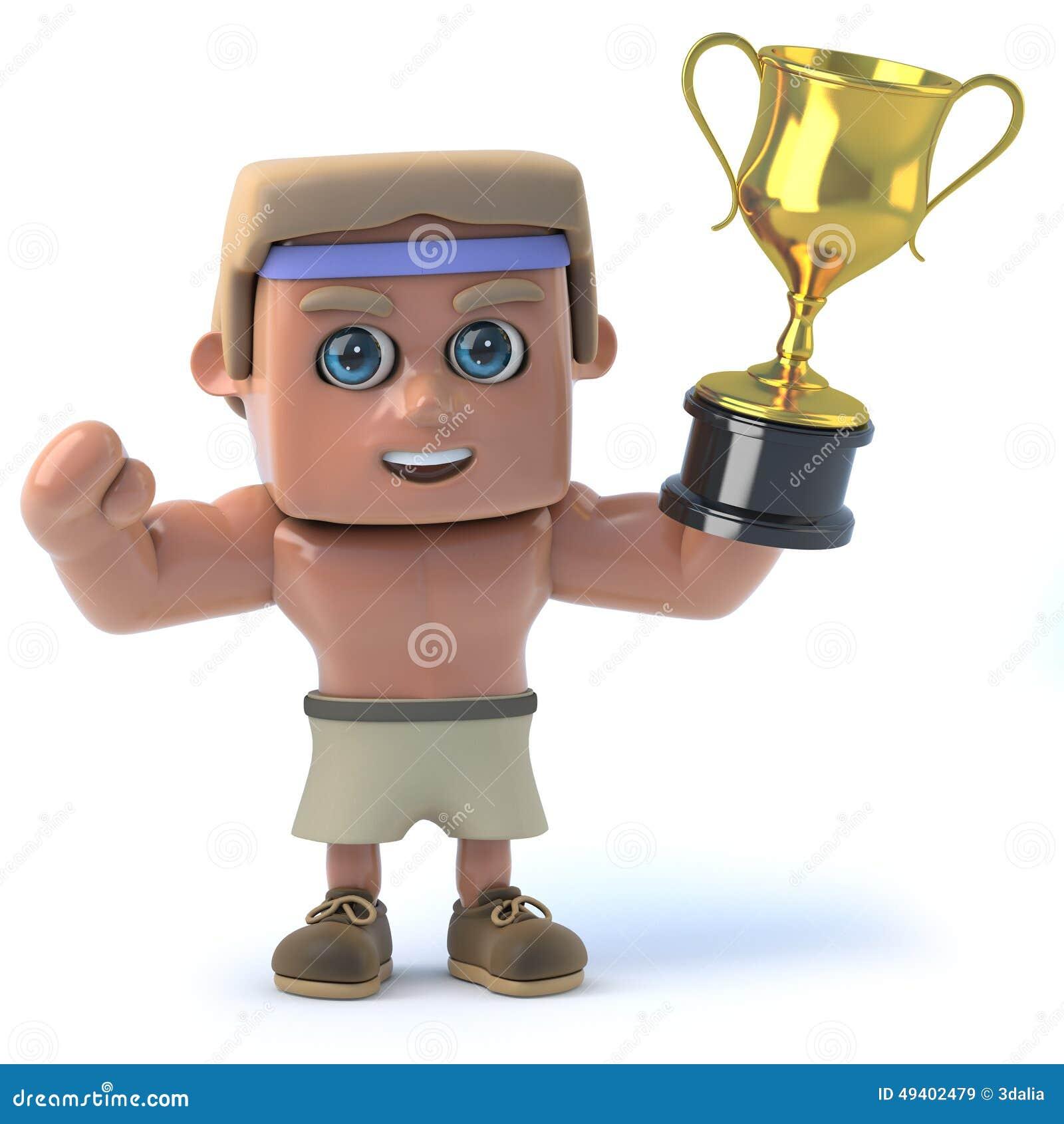 Download Bodybuilder 3d Gewinnt Den Goldcup Stock Abbildung - Illustration von attraktiv, sport: 49402479
