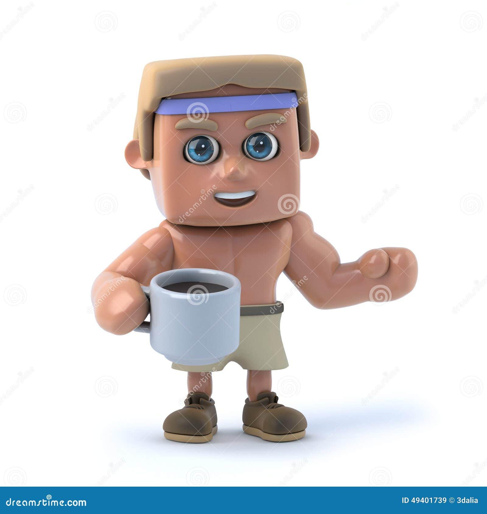 Download Bodybuilder 3d Trinkt Einen Tasse Kaffee Stock Abbildung - Illustration von reizvoll, abbildung: 49401739
