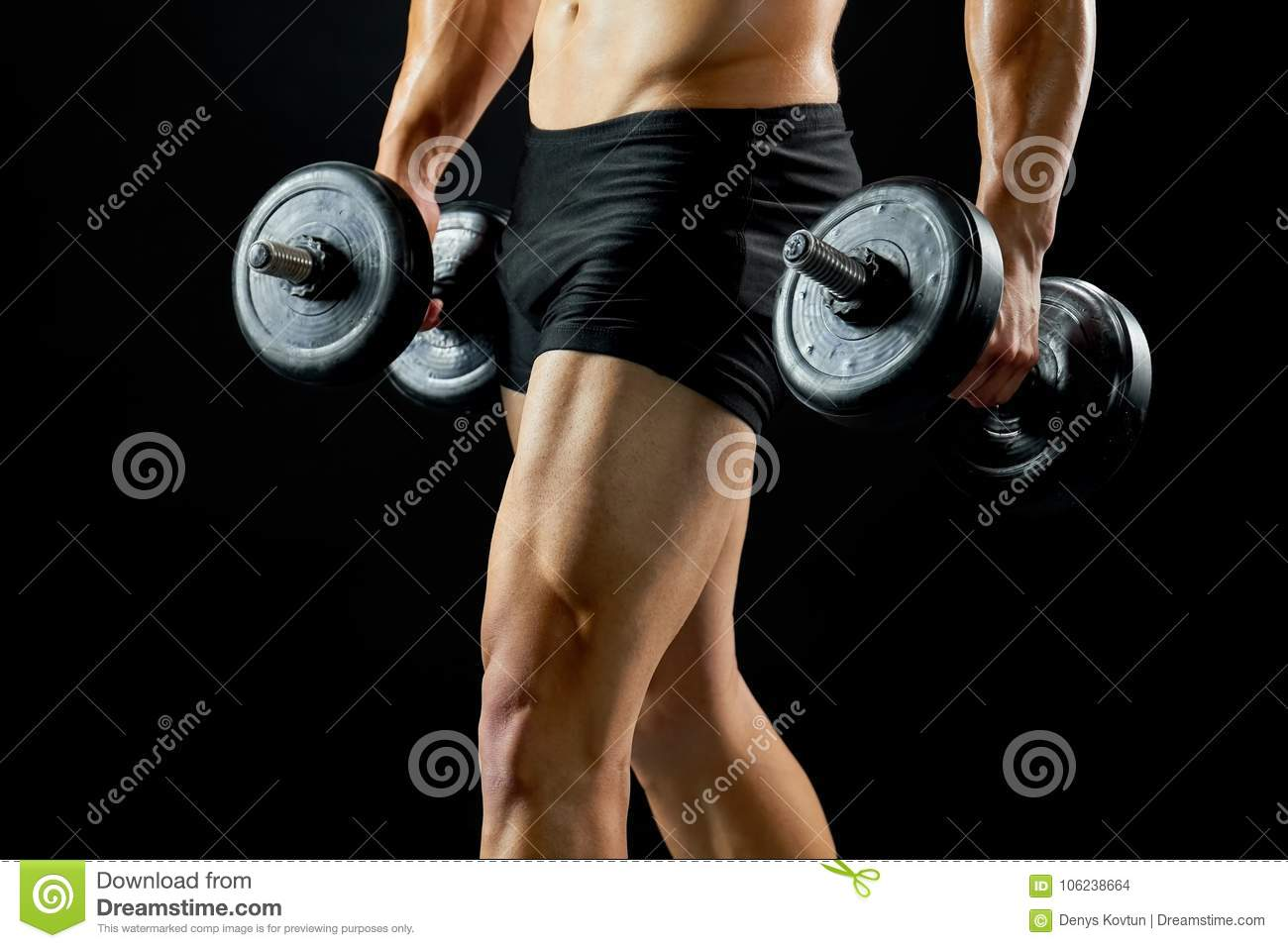 Bodybuilder With Dumbbells On Black  Stock Photo - Image of