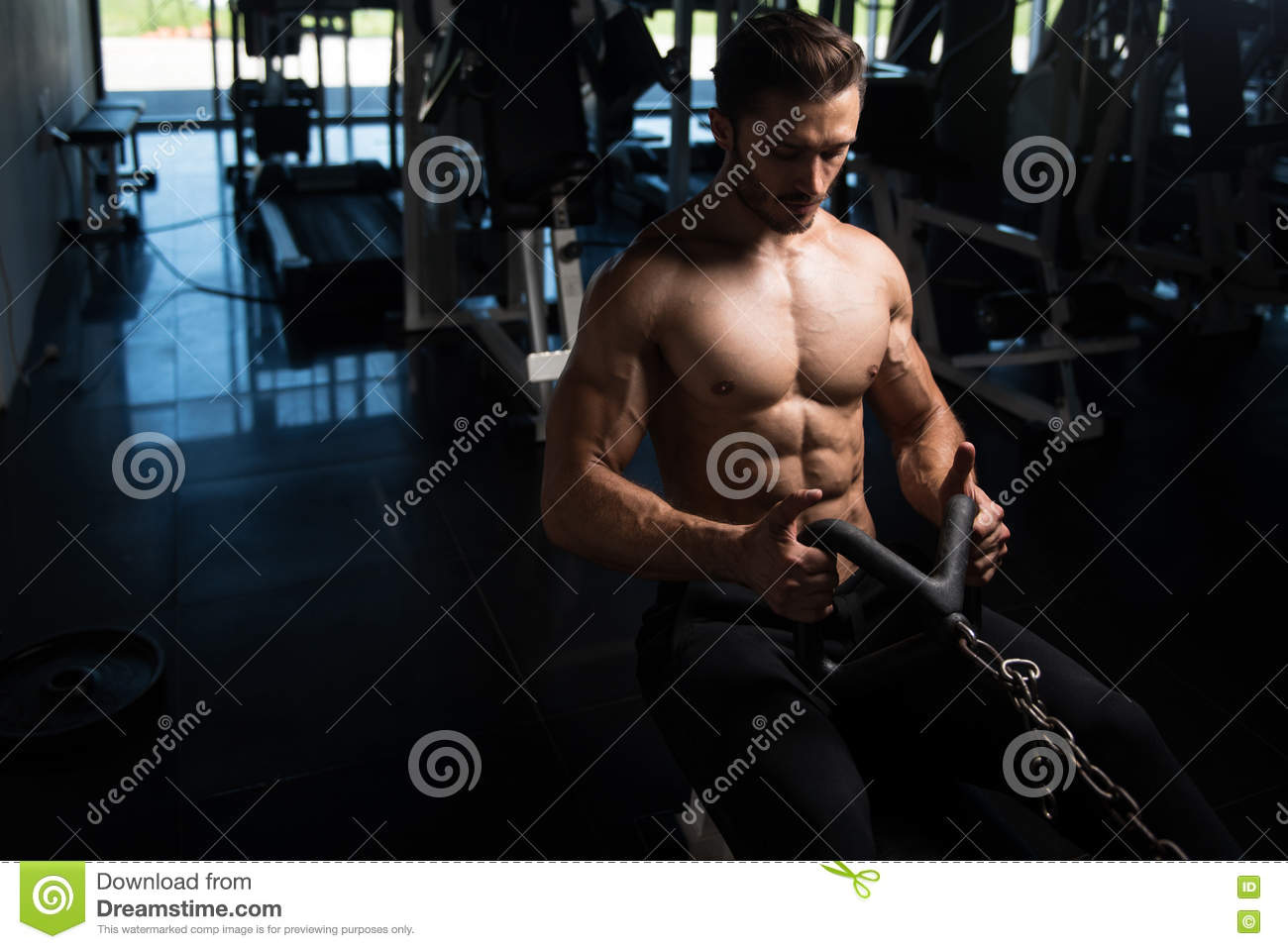 Bodybuilder Exercising Back In Gym