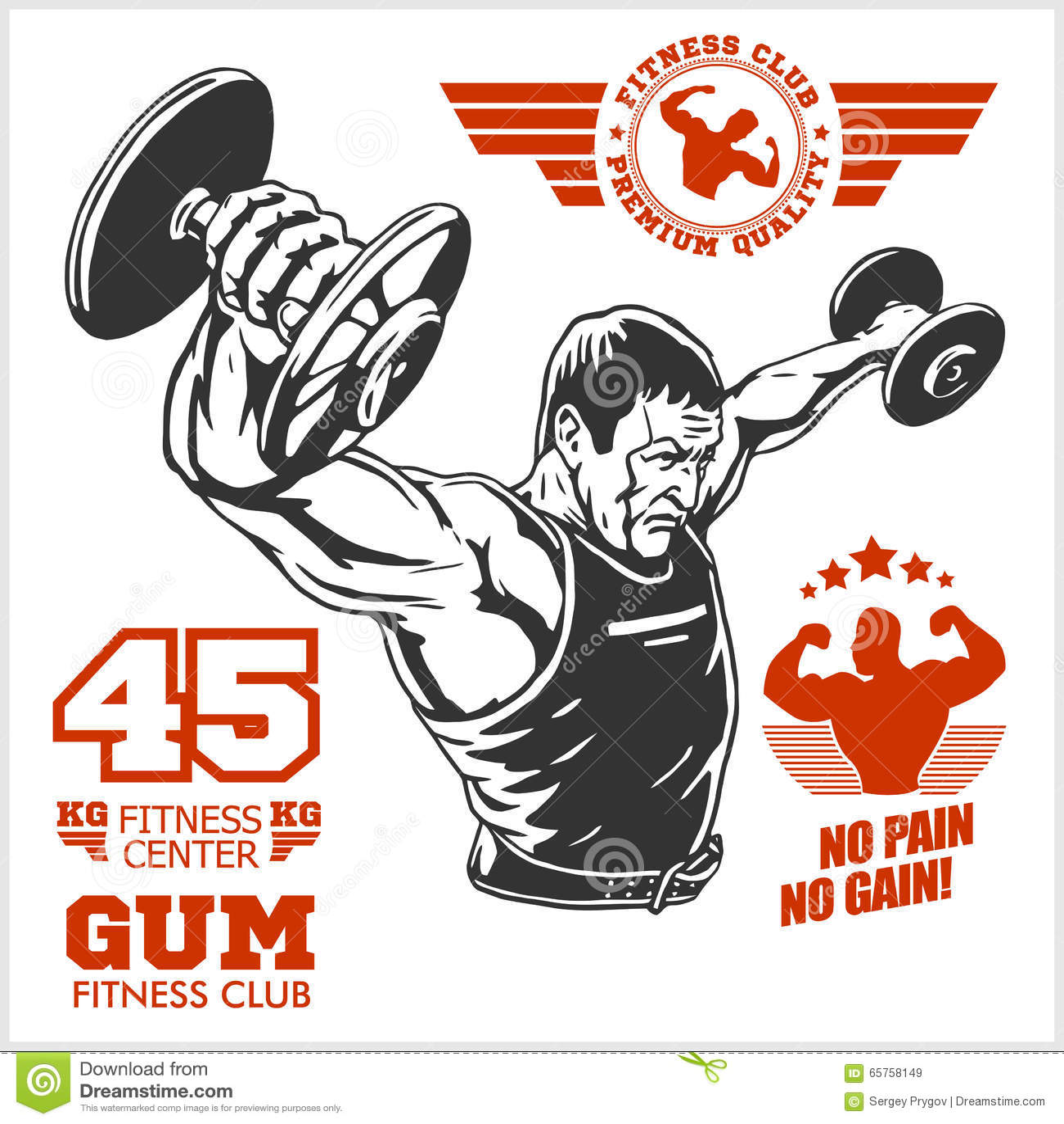 Bodybuilder i Bodybuilding sprawności fizycznej logów emblematy fizyczne fitness ikony siedem sylwetek sportowe Na biel